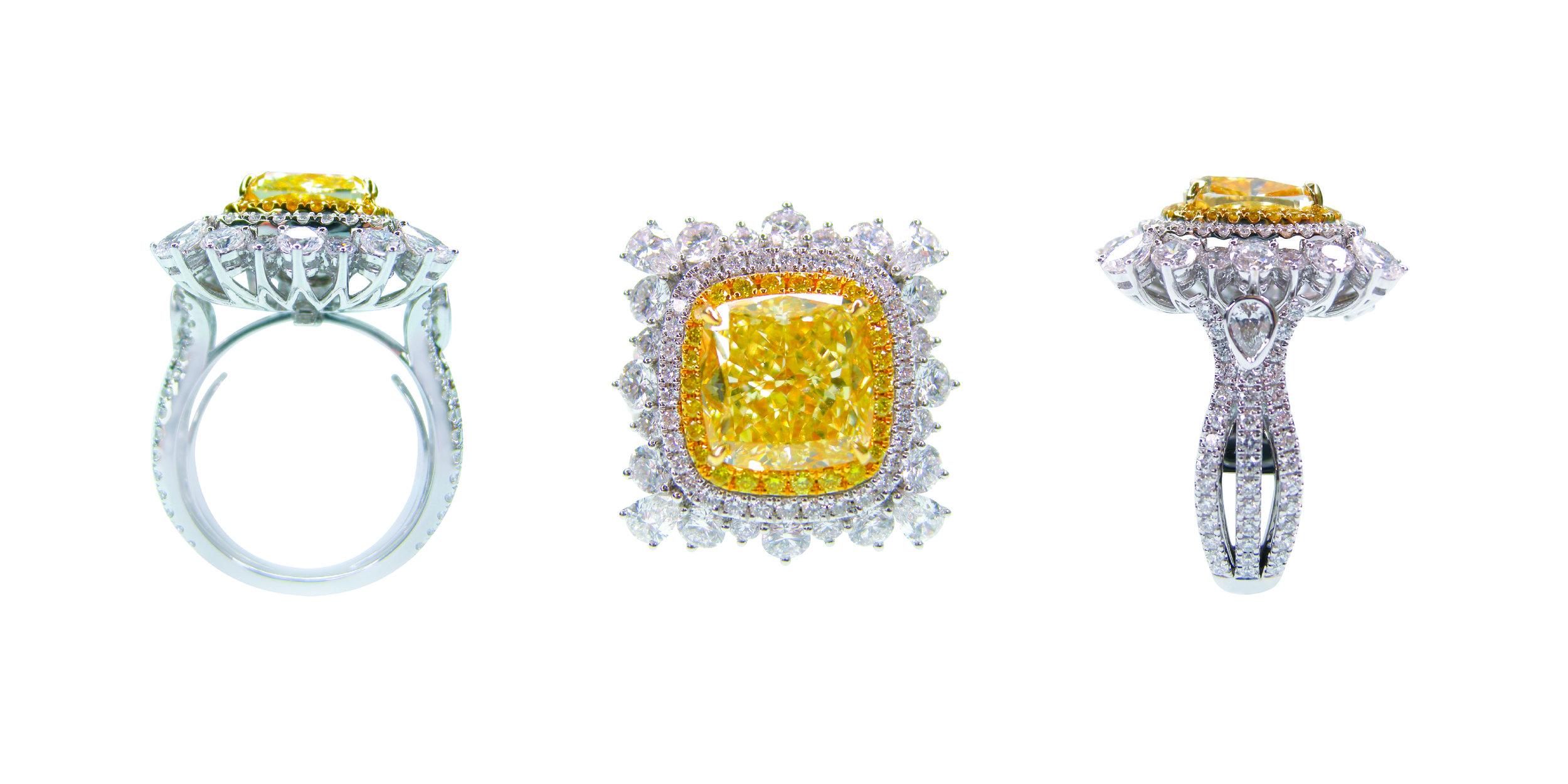 5 CARAT FANCY YELLOW DIAMOND RING AND PENDANT BESPOKE FINE JEWELLERY BY SHAHINA HATTA HONG KONG