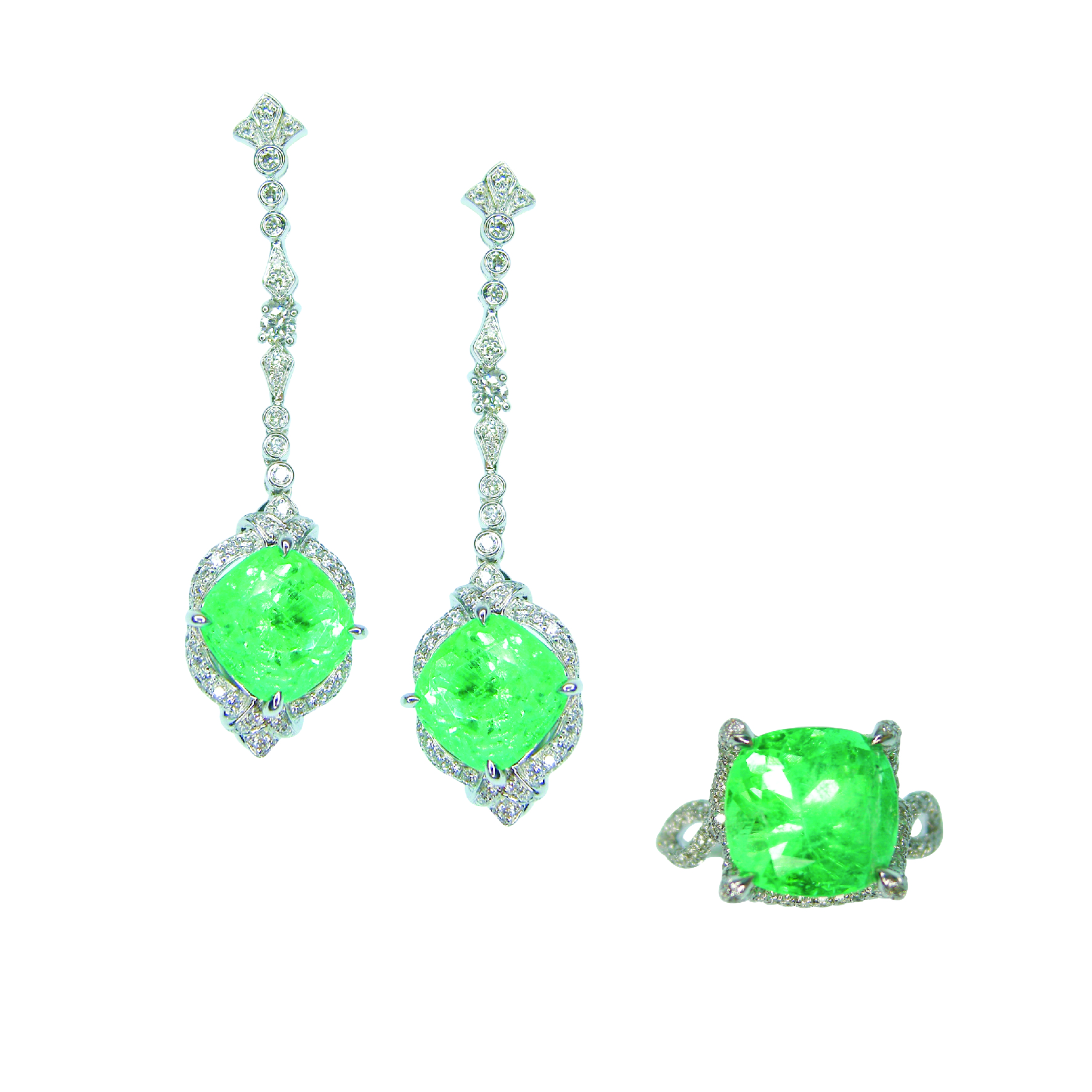 COLOMBIAN MINT EMERALD AND DIAMOND EARRINGS AND RING BESPOKE FINE JEWELLERY BY SHAHINA HATTA HONG KONG