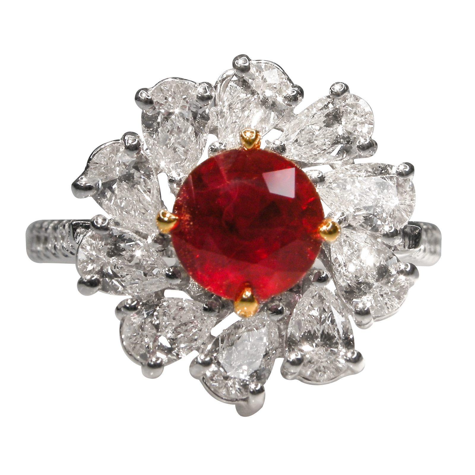 RUBY AND DIAMOND SUN RING BESPOKE FINE JEWELLERY BY SHAHINA HATTA HONG KONG
