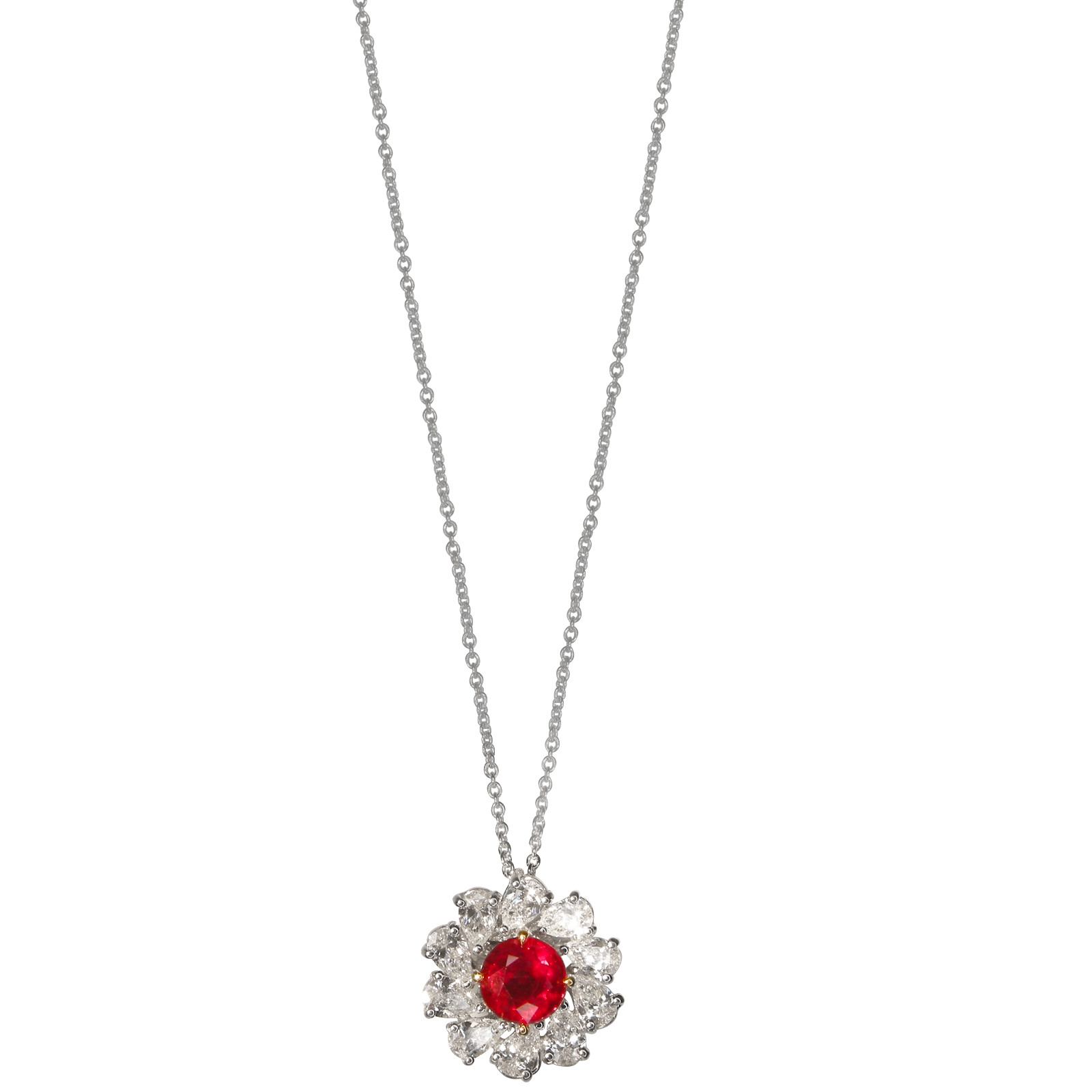 RUBY AND DIAMOND SUN NECKLACE BESPOKE FINE JEWELLERY BY SHAHINA HATTA HONG KONG