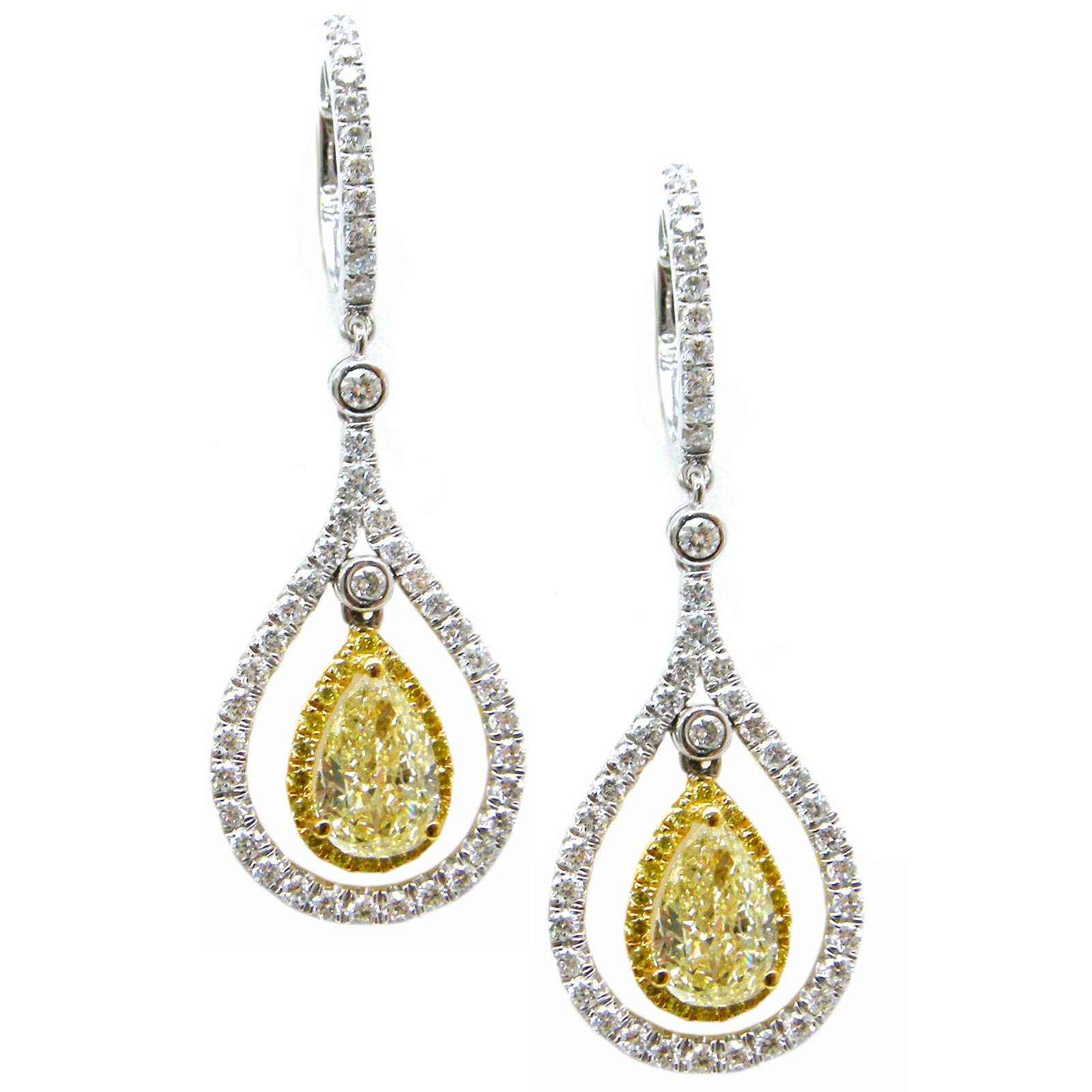 FANCY YELLOW DIAMOND EARRINGS