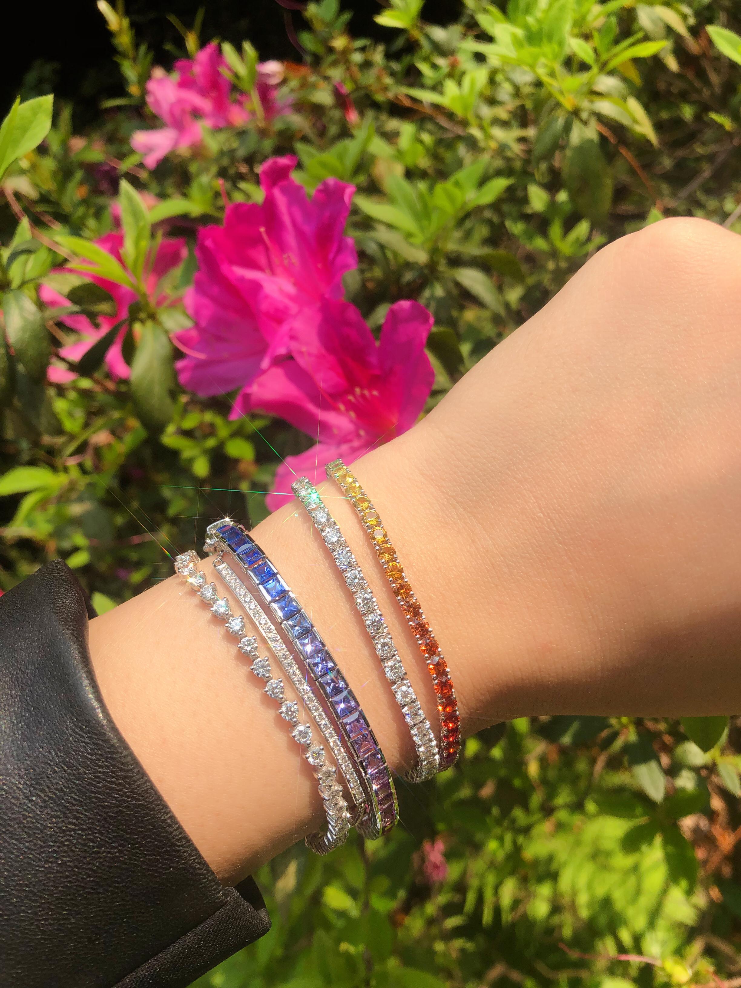 Signature Princess Cut Rainbow Sapphire Tennis Bracelet Bespoke Fine Jewellery