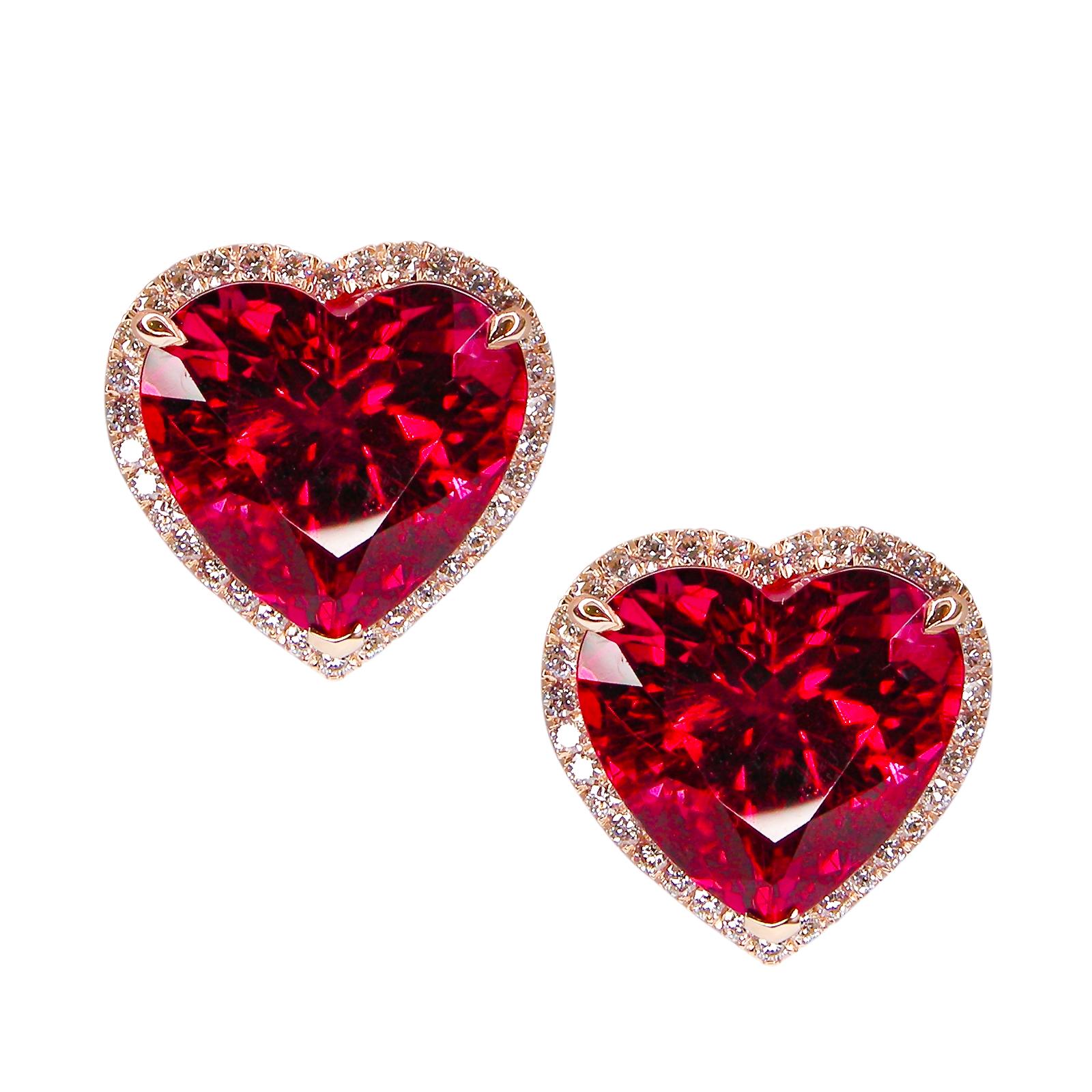 RUBELLITE TOURMALINE AND DIAMOND EARRINGS WITH HIDDEN DIAMOND HALO