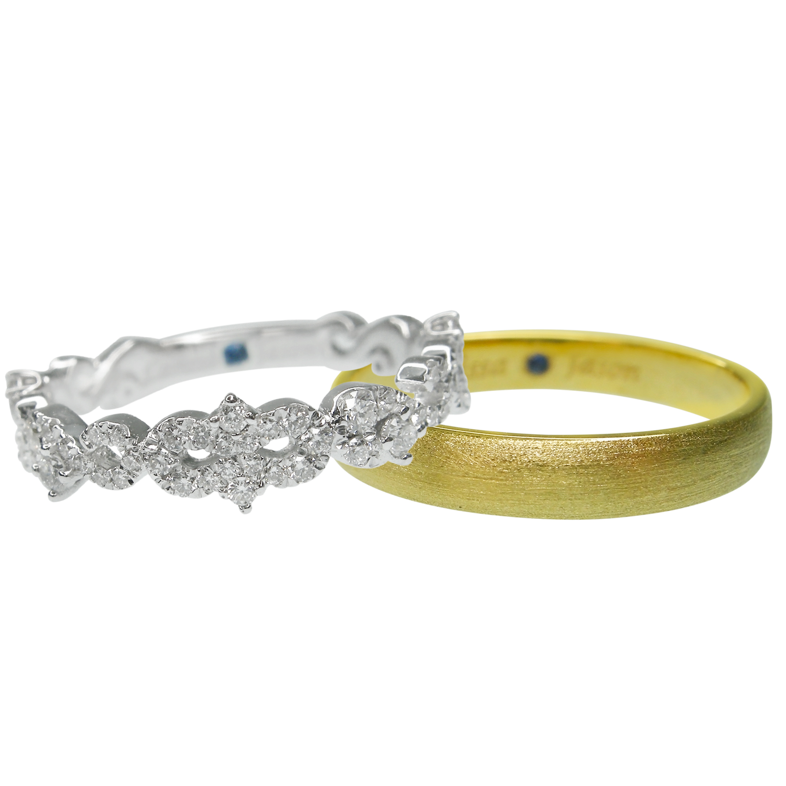 SIGNATURE DIAMOND BRIDAL WITH YELLOW GOLD BRUSHED MEN'S BAND