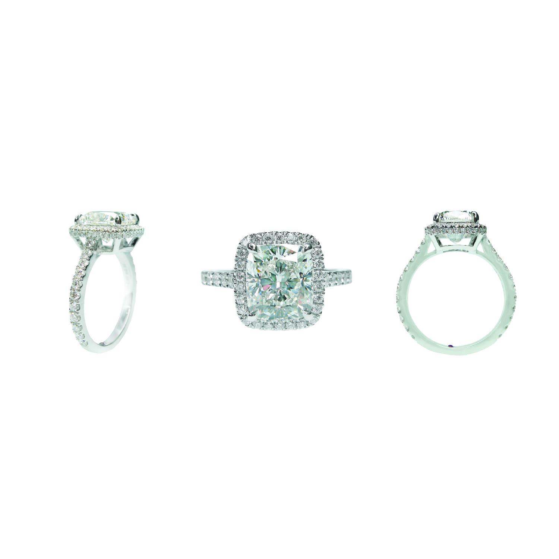 CUSHION CUT DIAMOND RING WITH HIDDEN HALO