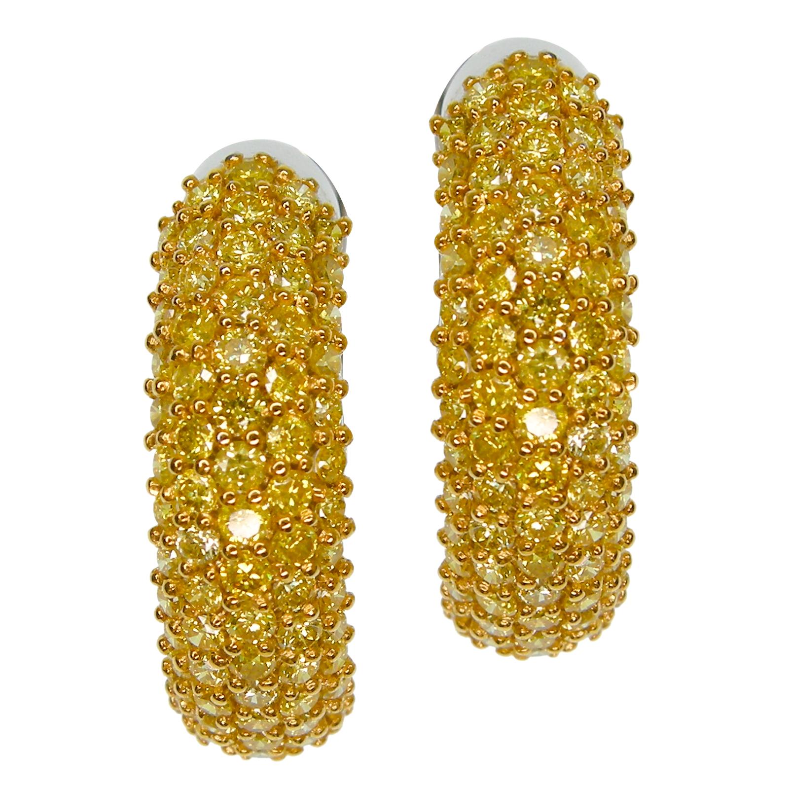 5 ROW FANCY YELLOW DIAMOND HOOPS