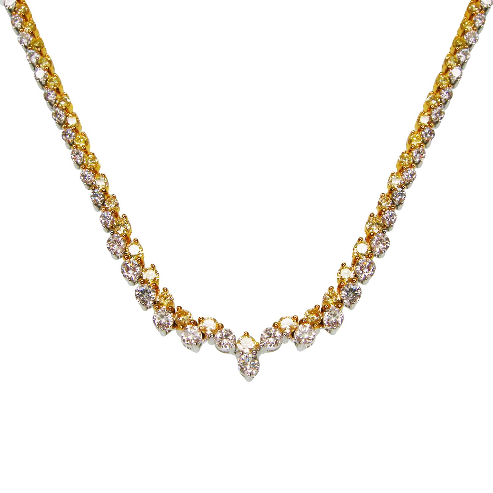 FANCY YELLOW DIAMOND AND DIAMOND TENNIS NECKLACE