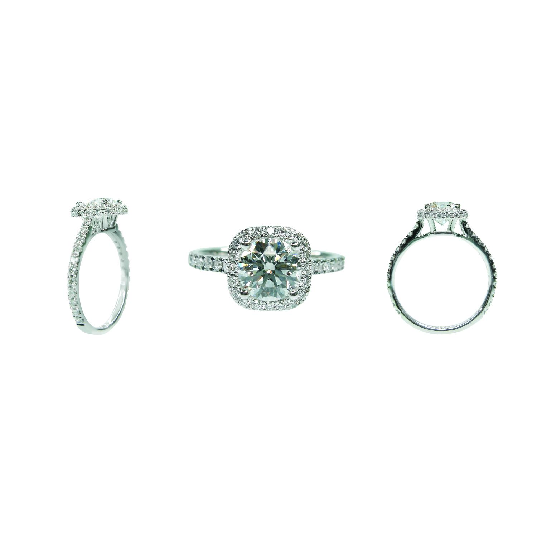 CUSHION CUT HALO WITH HIDDEN HALO DIAMOND RING