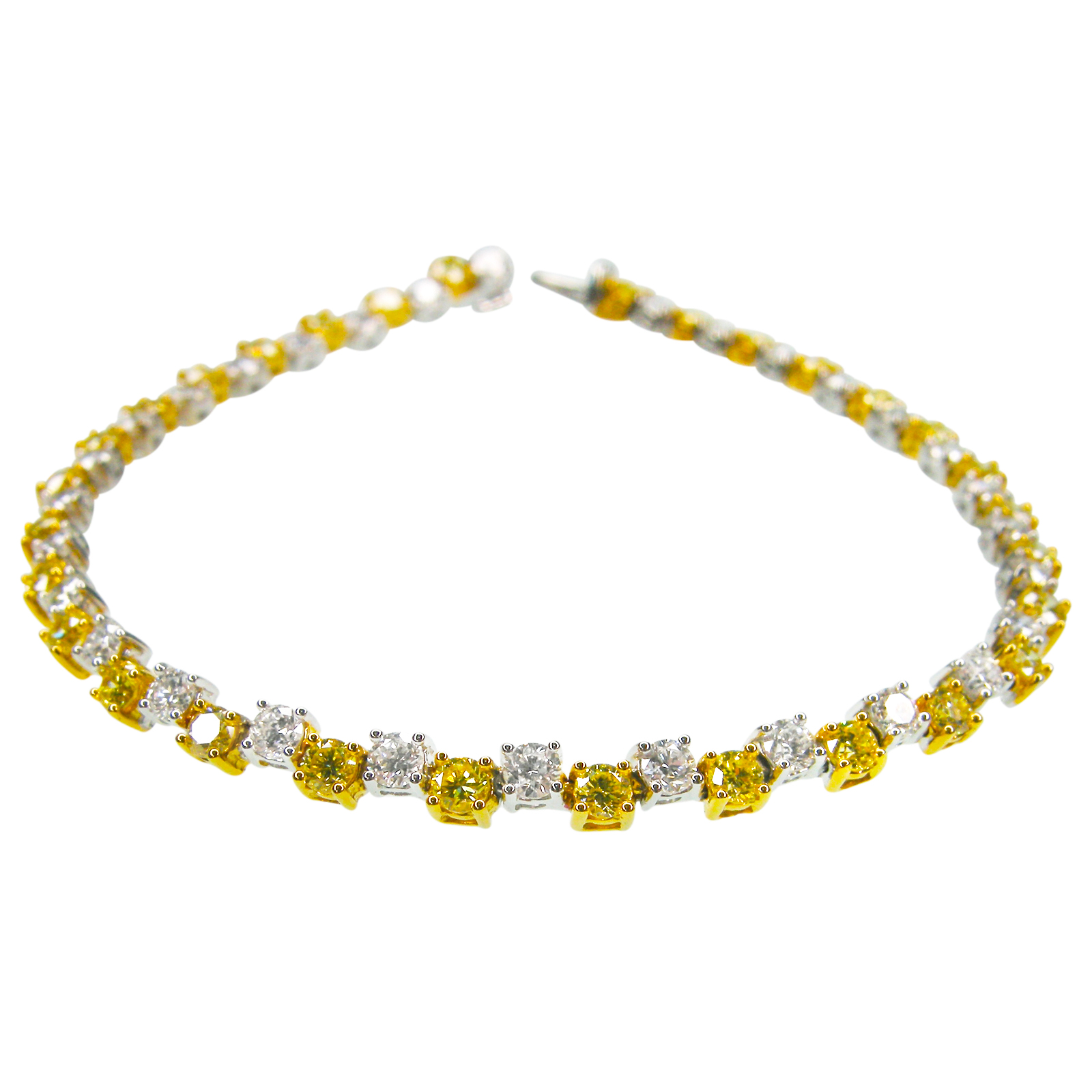 FANCY YELLOW DIAMOND AND DIAMOND DIAMOND TENNIS BRACELET
