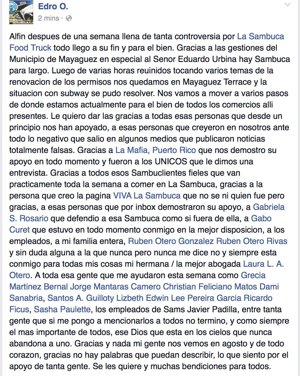 Declaración pública por Adrián Otero, dueño de La Sambuca Foodtruck en Facebook sobre el resultado de la situación