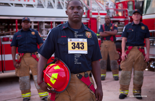 Poster honoring the 343 firemen killed on 9/11