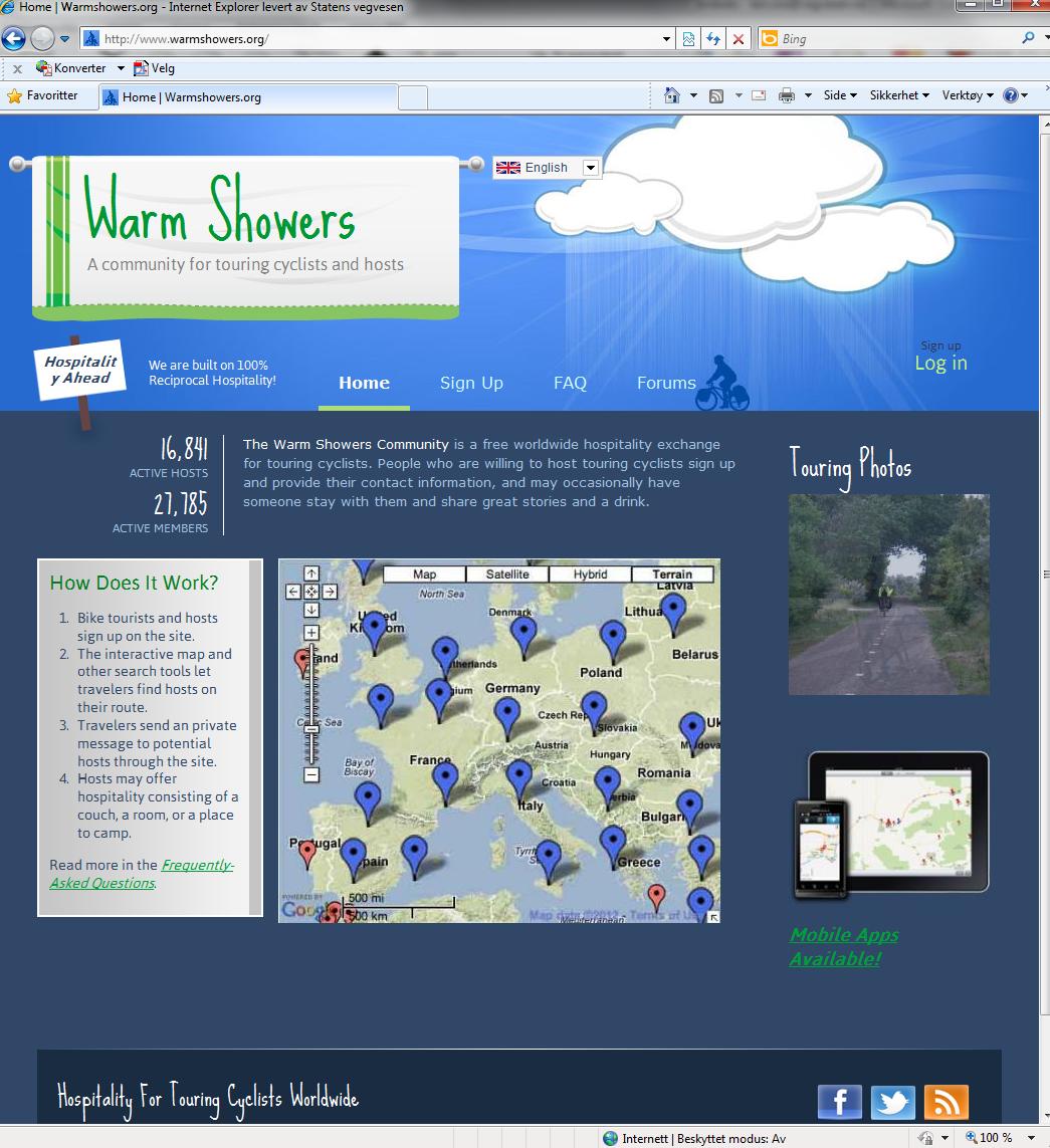 Nettsida tilwarmshowers.org.