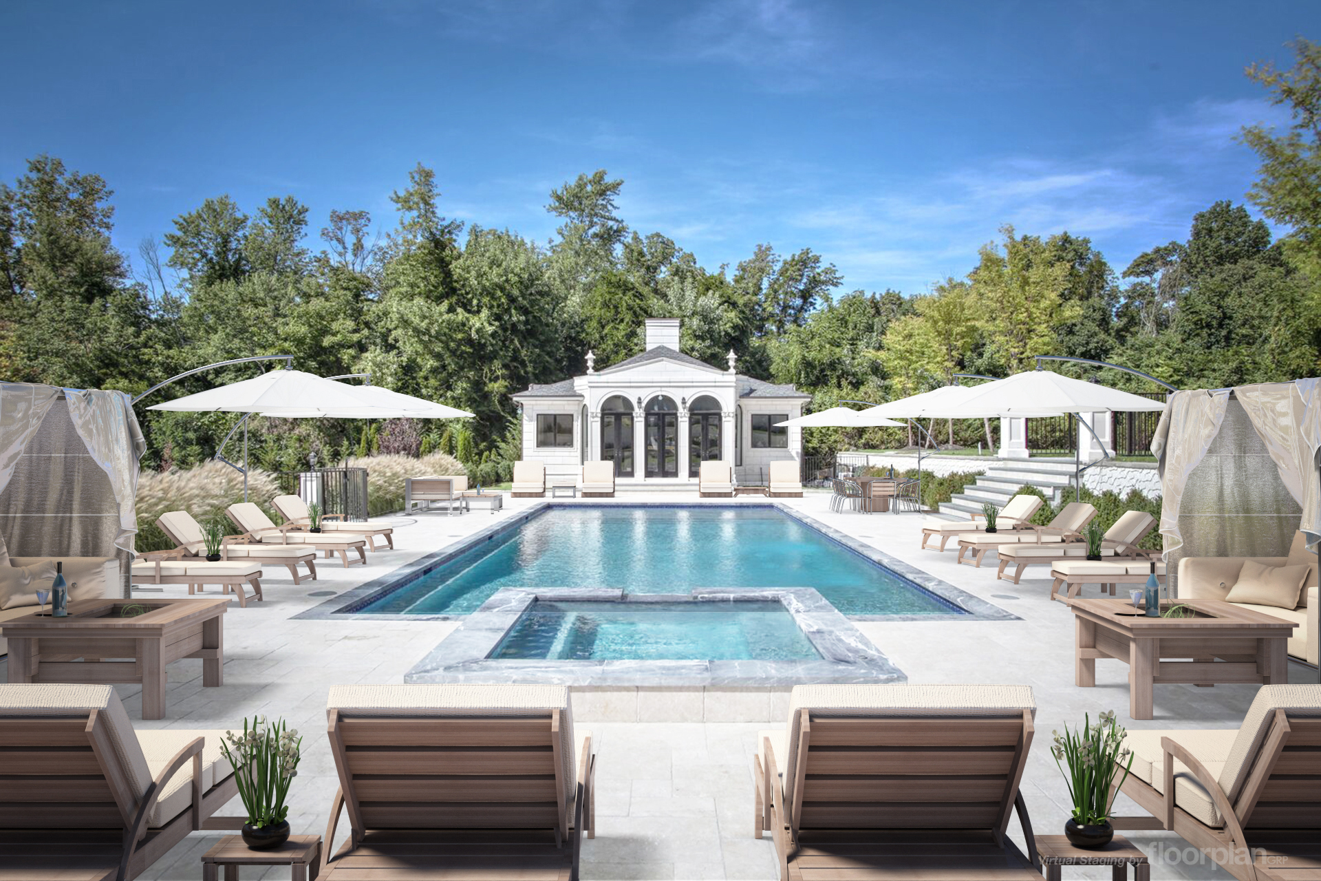 """After"" Virtually Staged Image of 15 Dupont Circle Pool"