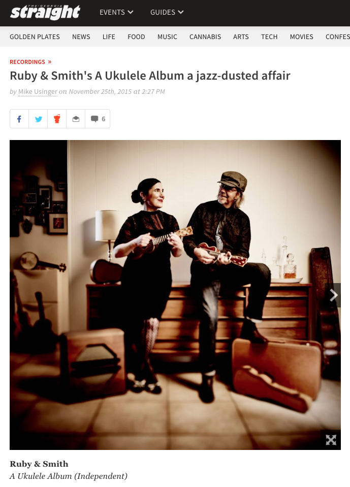 Ruby & Smith's A Ukulele Album a jazz-dusted affair