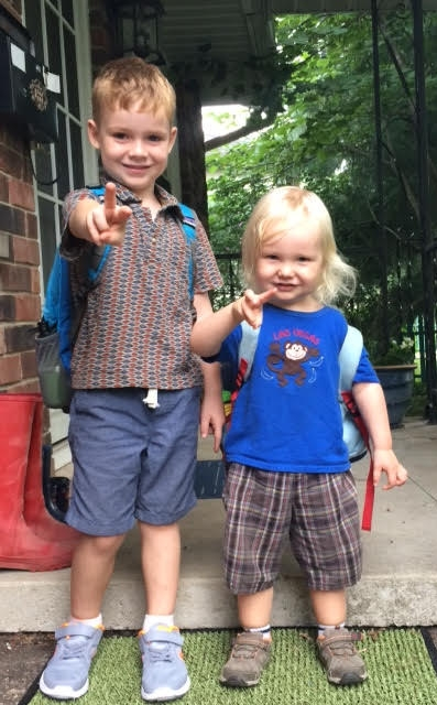 Two little Popps, ready for their first day of school!