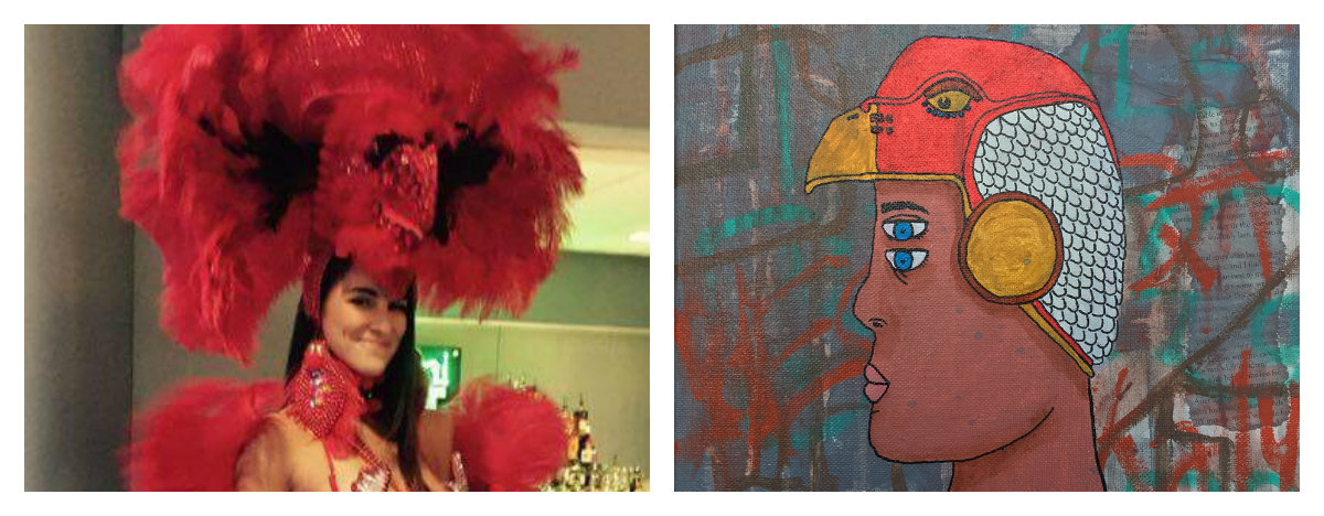 "Model Danielle Dikeman in Ferreyros Couture (left); ""Boy with Eagle Helmet"" by Adam Hernandez (right)"