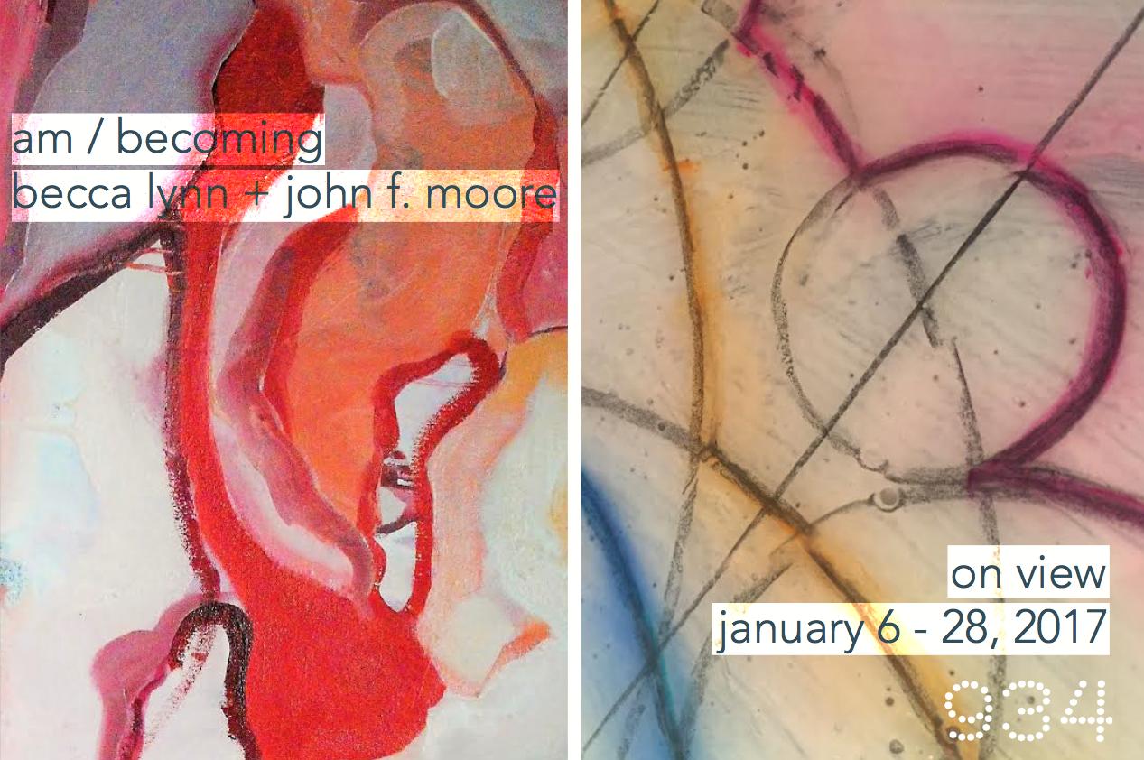 "left: becca lynn, detail of  Nestle No. 1 , 2016, oil on canvas, 48"" x 48""    right: j  ohn f. moore, d  etail of   Nesting  , 2016  ,  m  ixed media on wood, 21"" x 21"""