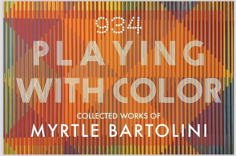 "Background image: Myrtle Bartolini, Detail of Emerging Triangles, 1974, Acrylic on Panel, 48"" x 48"""