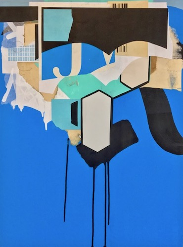 """Clint Davidson, Assemblage with Black and Blue No.1, 2017, Collage/Mixed Media on Panel, 18"""" x 24"""""""
