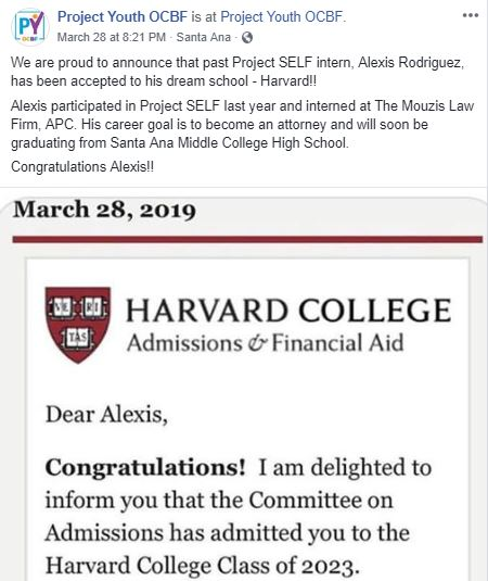 Project SELF Intern Accepted Into Dream School — Eric V  Traut