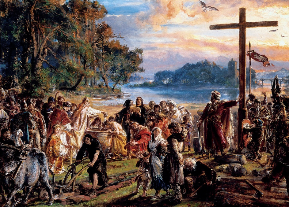 """Jan Matejko Christianization of Poland (1889)  Matejko was a Polish painter living in 18th-19th century, famous for documenting momentous historical events. His artistic output earned him an informal title of a """"national painter"""""""