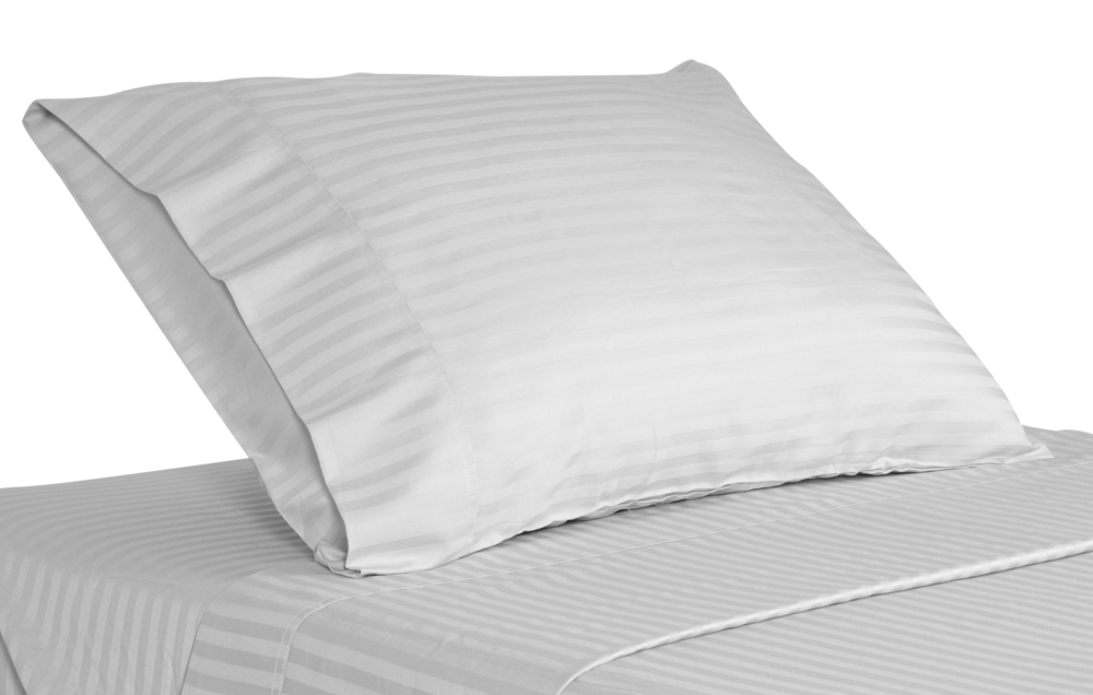 picture of white stripe hotel bed sheets