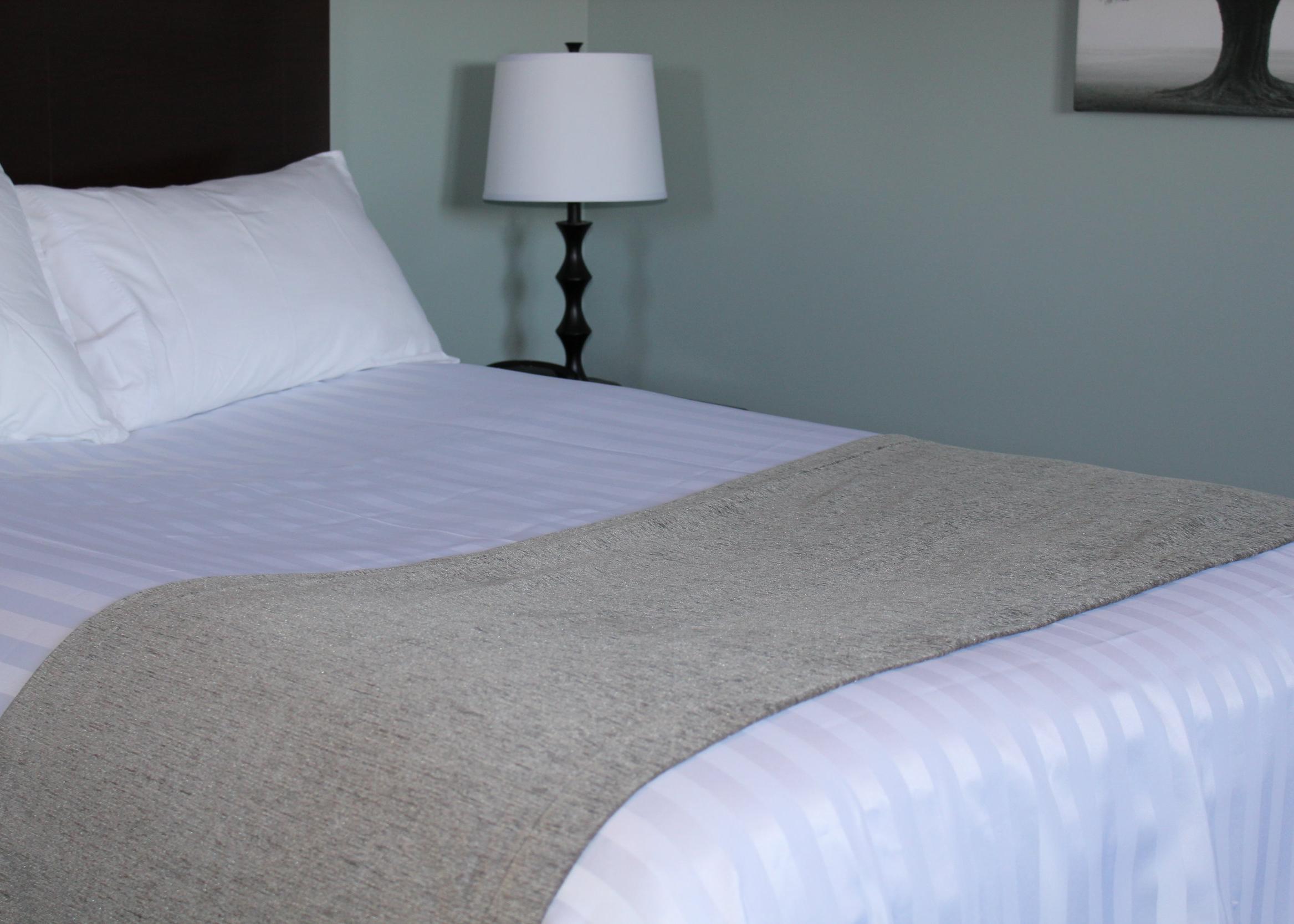 grey hotel bed scarf