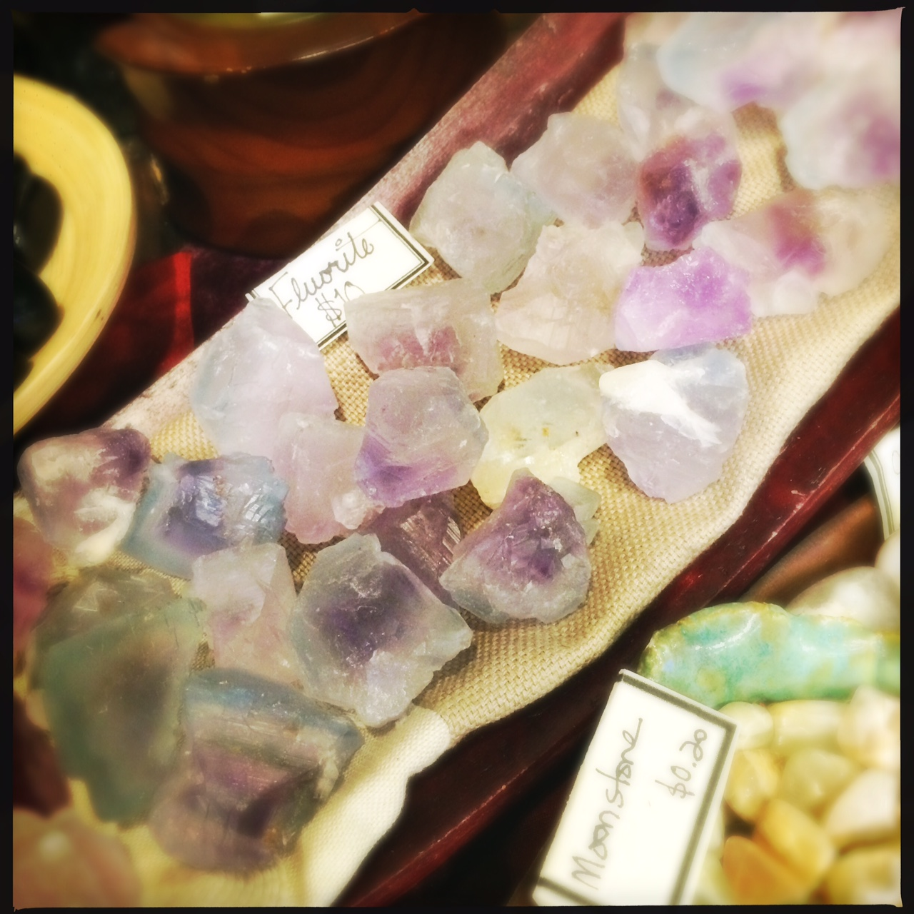 lovely formations of raw Rainbow Fluorite.  The picture doesn't do them justice.  They're just so lovely to be with.