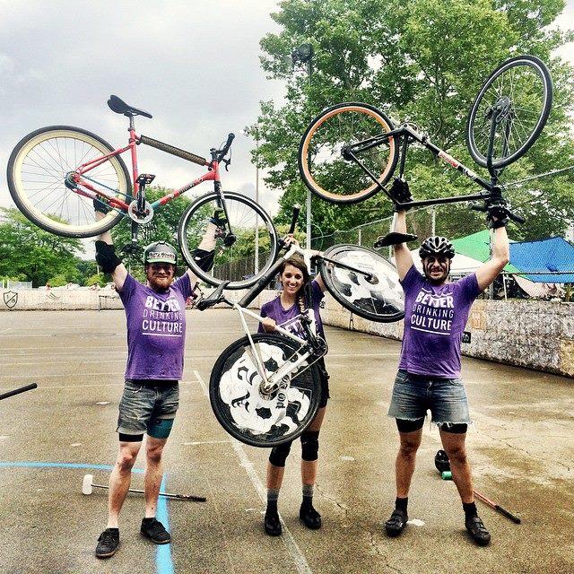 purple bikes_L-R Bob Zeilstra, Emma Breen, and Robb Johnston.jpg