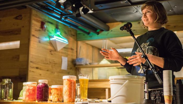 Tara Whitsitt of Fermentation on Wheels giving a demo. Photo via  The Splendid Table .