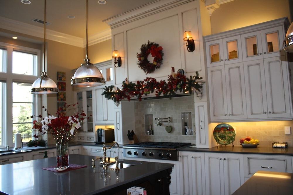 interior decor modern kitchen residential chandelier tiles faucet black white