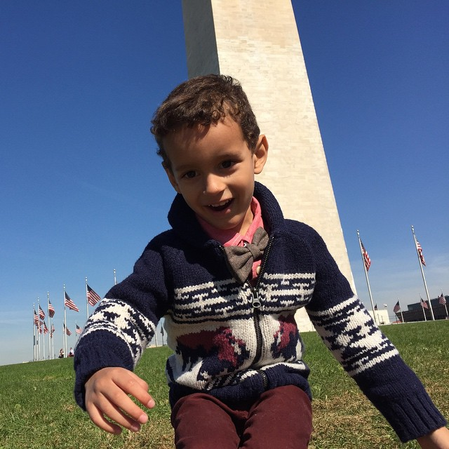 Running amuck in front of the Washington Monument