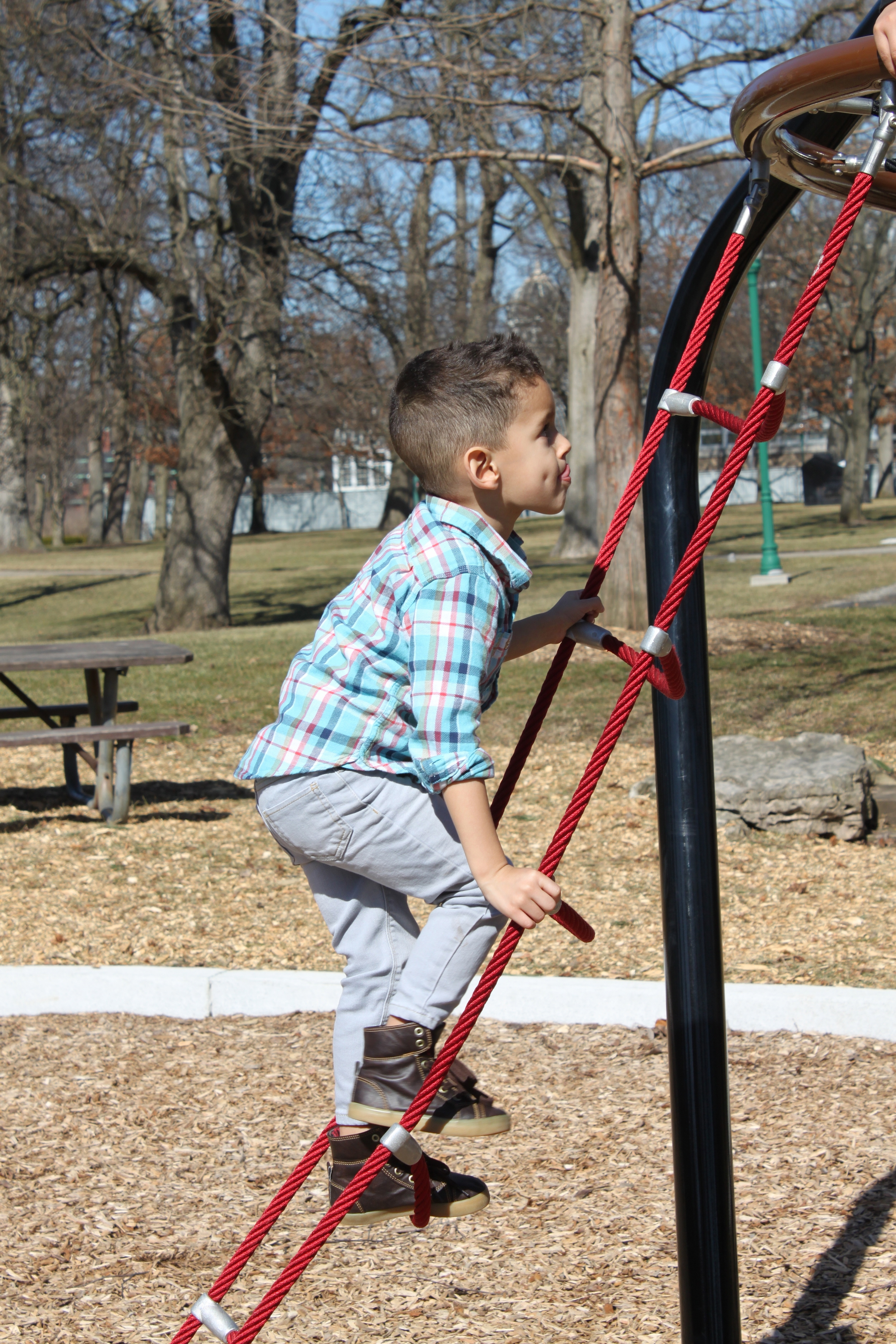 Playing at the playground in Franklin Park