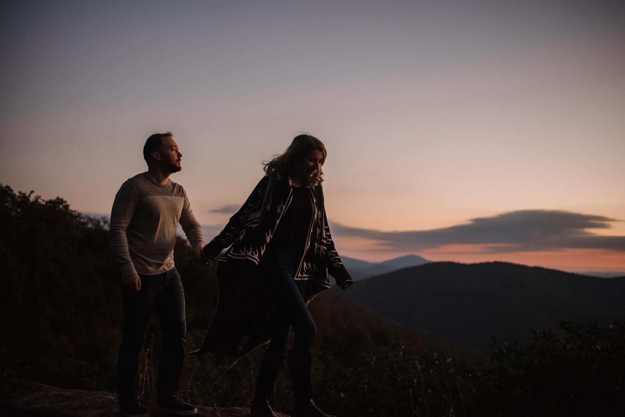 Macy and Mark - Shenandoah National Park - Fall Autumn Sunrise Couple Adventure Session - White Sails Creative - Mini Session_1.JPG