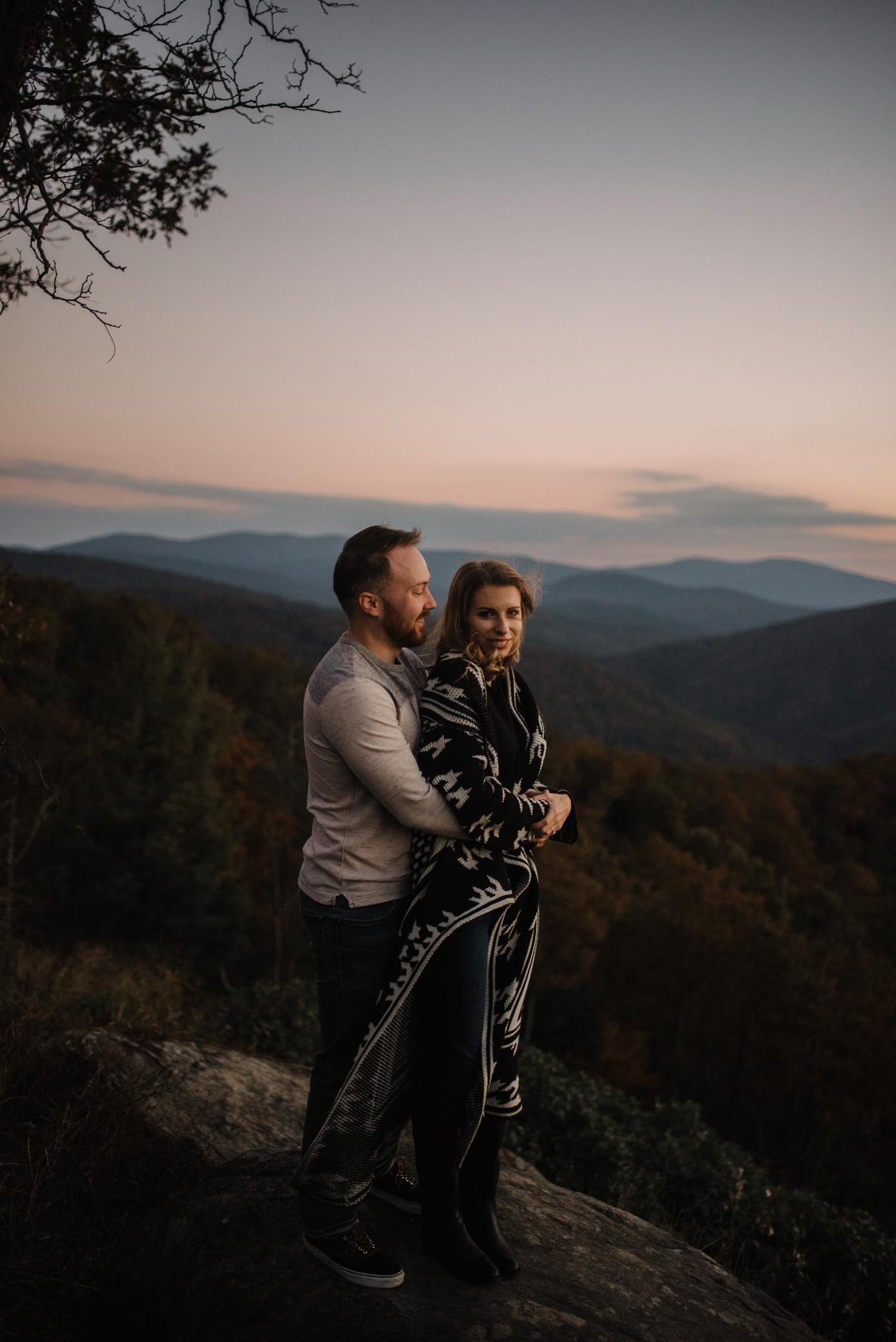 Macy and Mark - Shenandoah National Park - Fall Autumn Sunrise Couple Adventure Session - White Sails Creative - Mini Session_3.JPG
