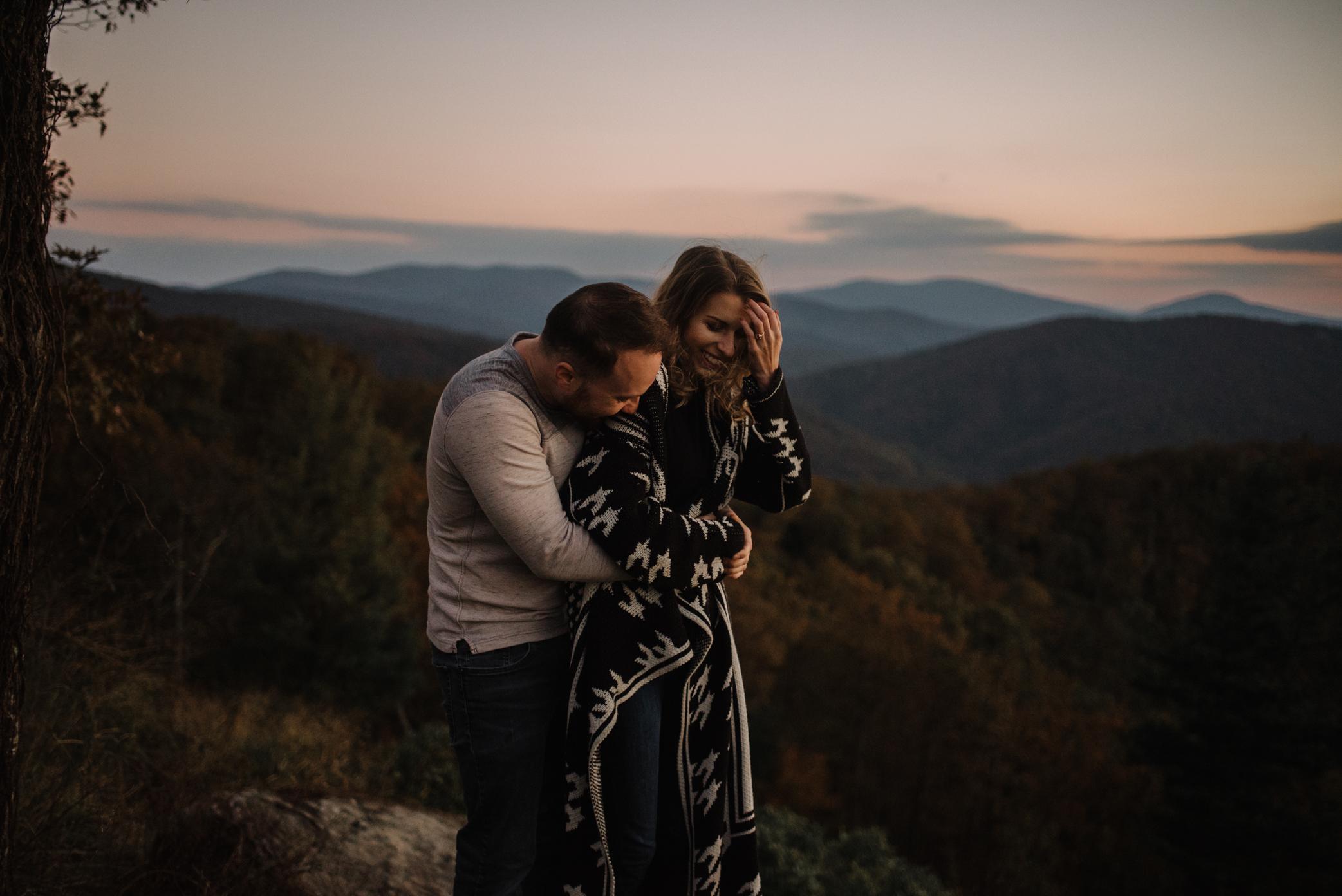 Macy and Mark - Shenandoah National Park - Fall Autumn Sunrise Couple Adventure Session - White Sails Creative - Mini Session_4.JPG