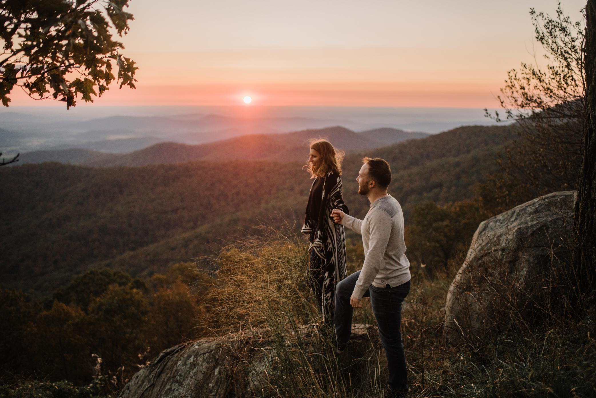 Macy and Mark - Shenandoah National Park - Fall Autumn Sunrise Couple Adventure Session - White Sails Creative - Mini Session_6.JPG