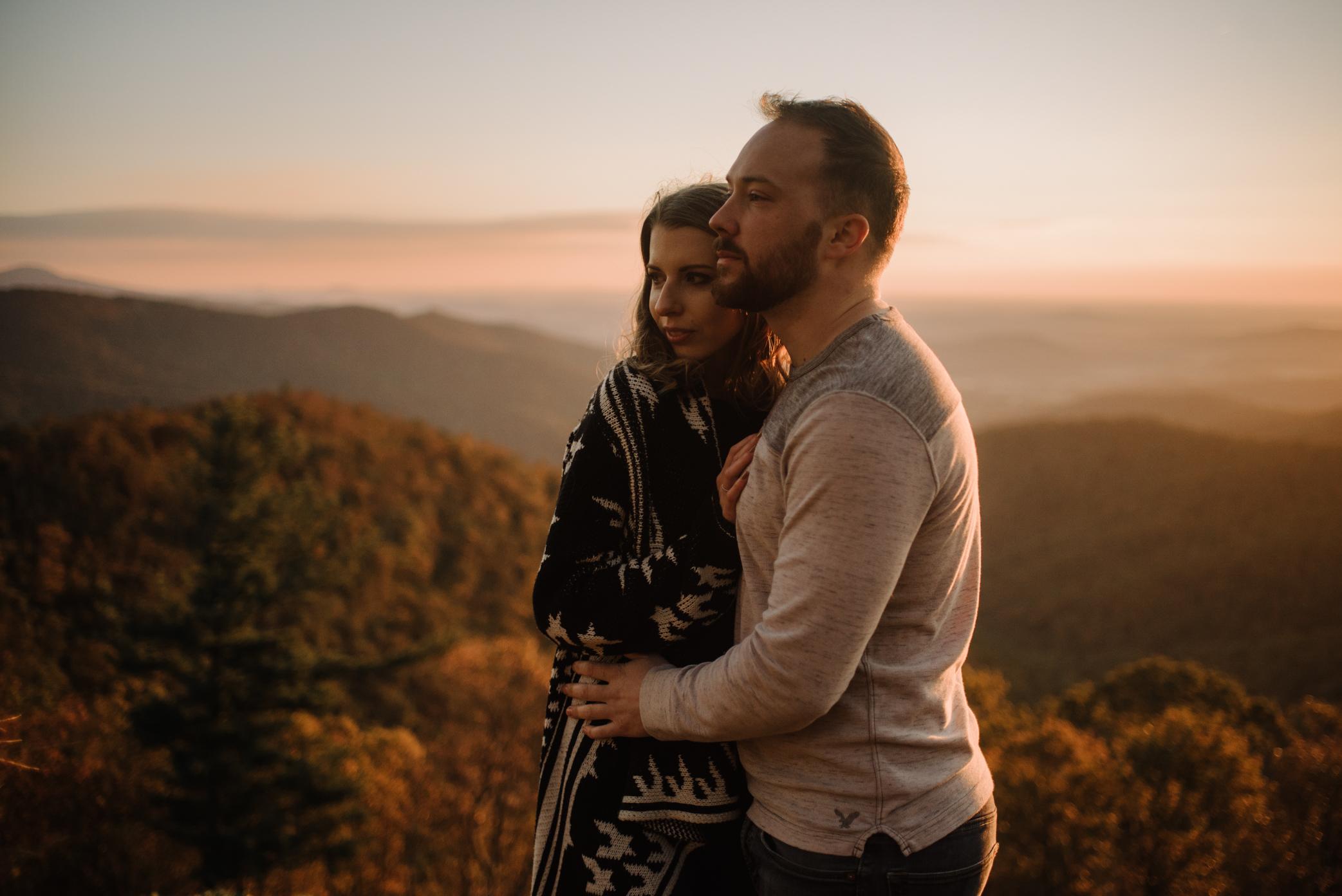 Macy and Mark - Shenandoah National Park - Fall Autumn Sunrise Couple Adventure Session - White Sails Creative - Mini Session_20.JPG