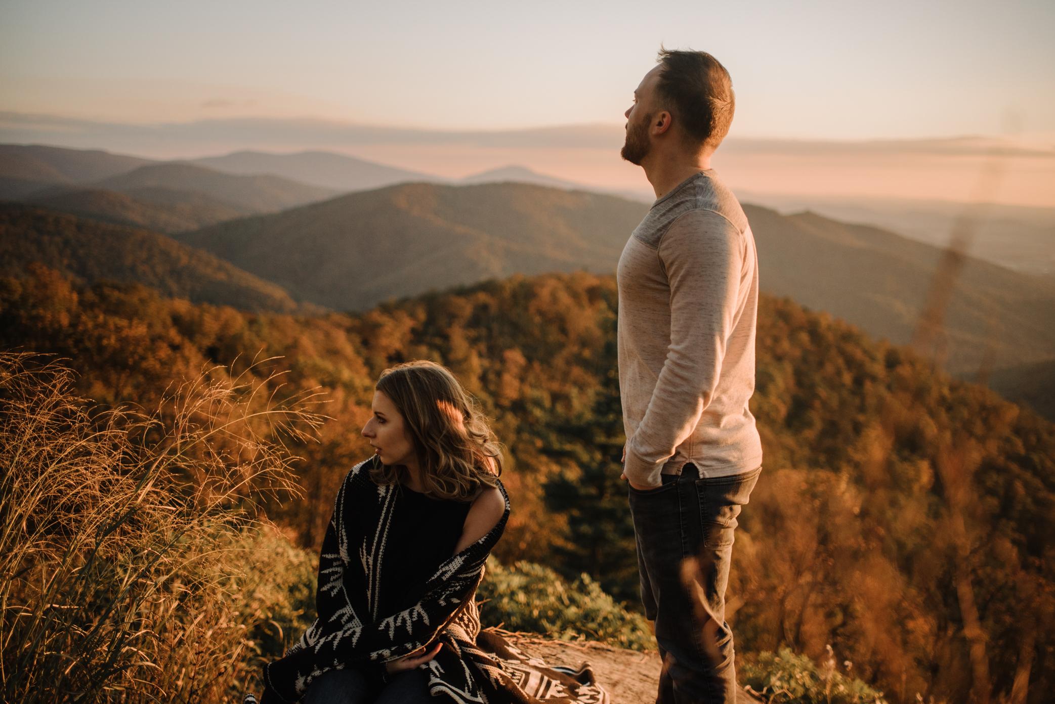 Macy and Mark - Shenandoah National Park - Fall Autumn Sunrise Couple Adventure Session - White Sails Creative - Mini Session_21.JPG