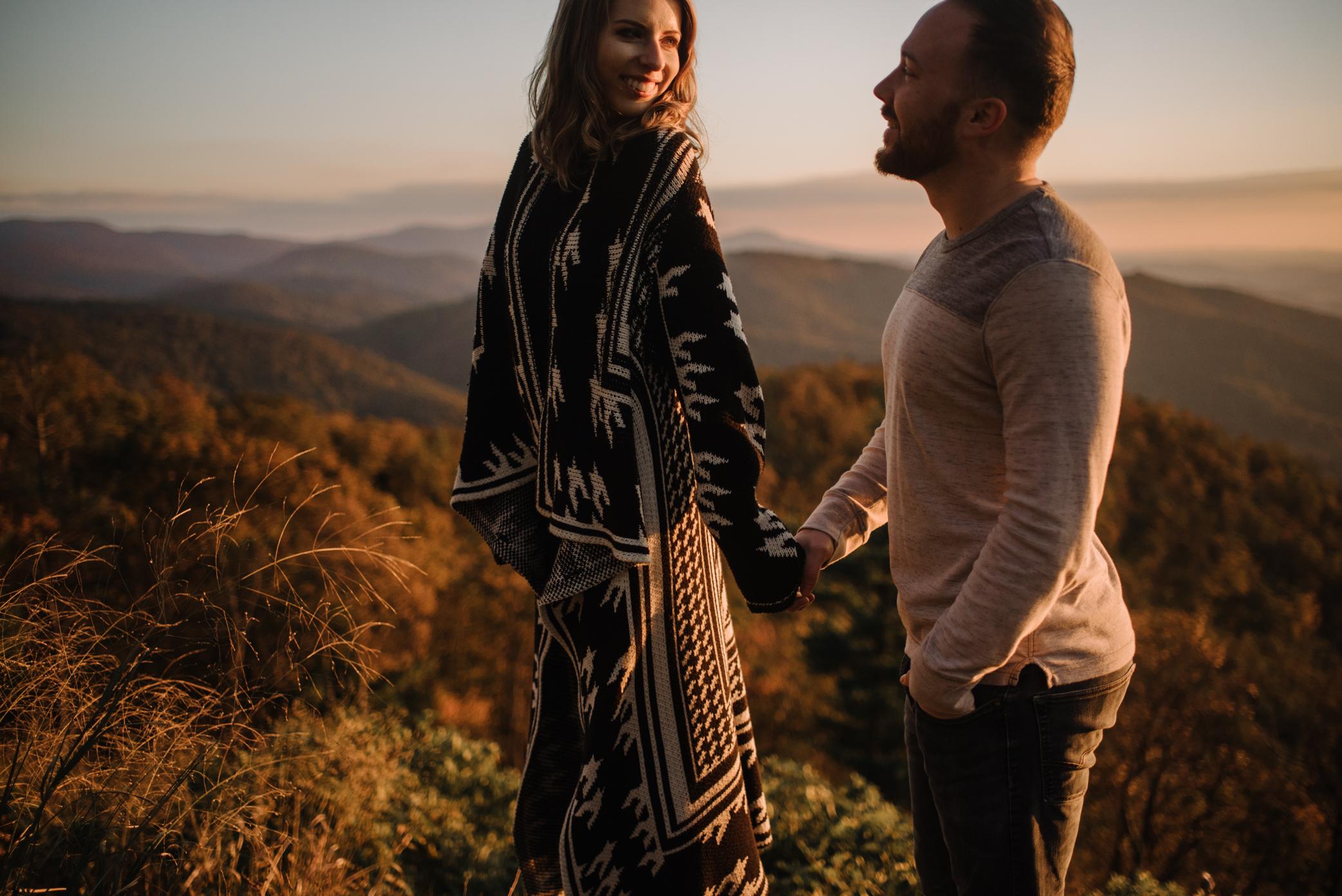 Macy and Mark - Shenandoah National Park - Fall Autumn Sunrise Couple Adventure Session - White Sails Creative - Mini Session_24.JPG