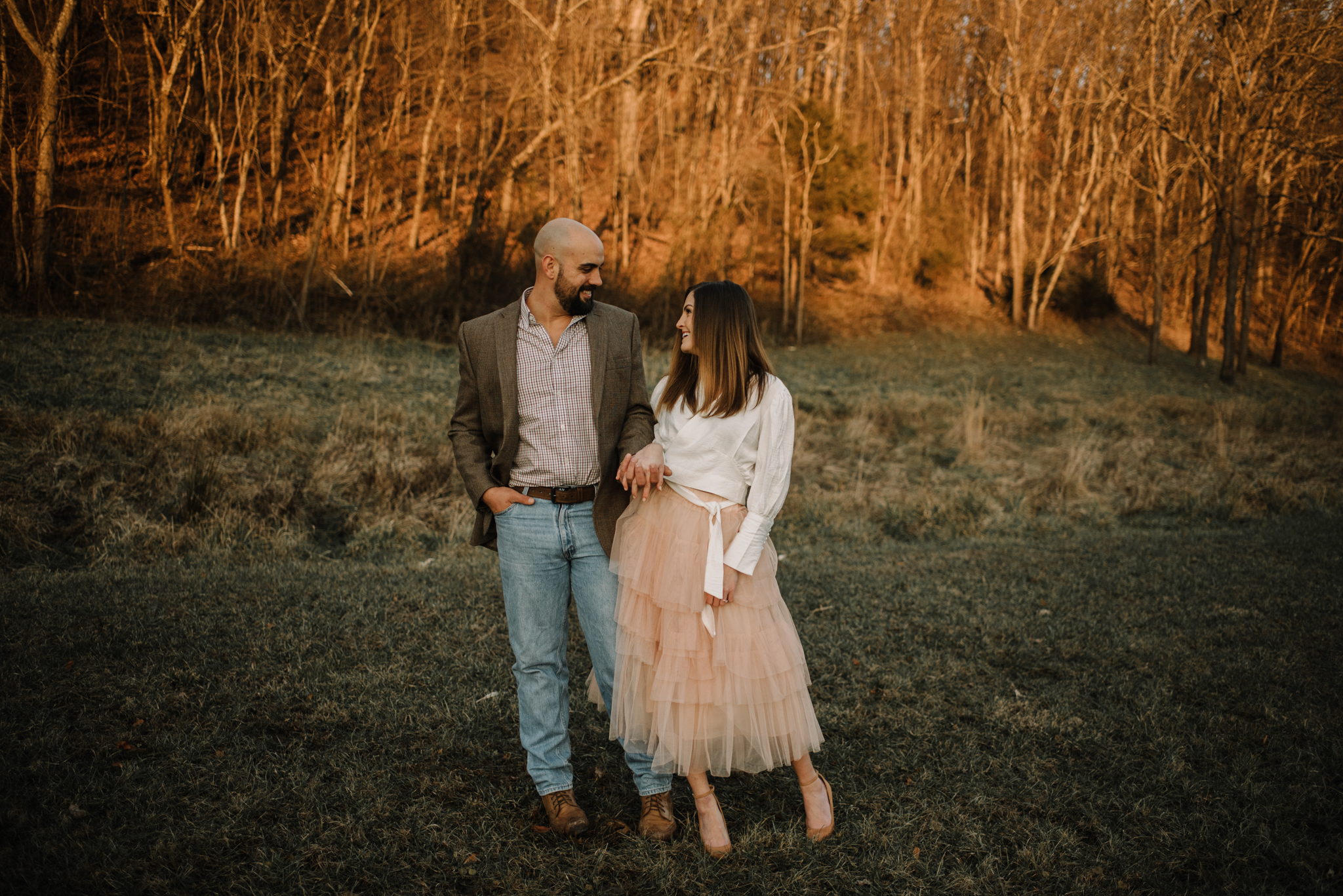 Emily and Hoyle - Shenandoah Valley Engagement Session - Winter Sunset - Downtown Old Movie Theater - Back yard Virginia Farm Wedding_26.JPG
