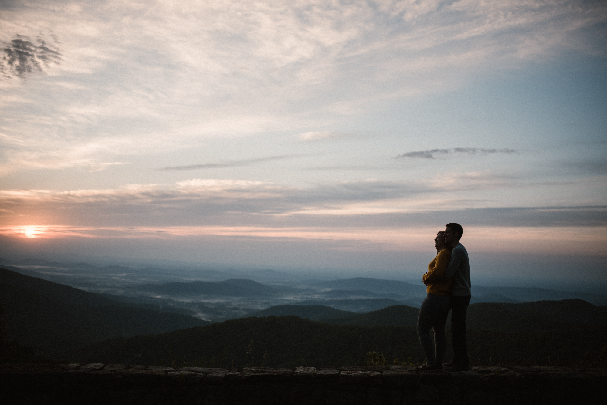 Sloane and Evan Sunrise Engagement Session in Shenandoah National Park - Things to Do in Luray Virginia - Adventurous Couple Photo Shoot White Sails Creative_1.jpg