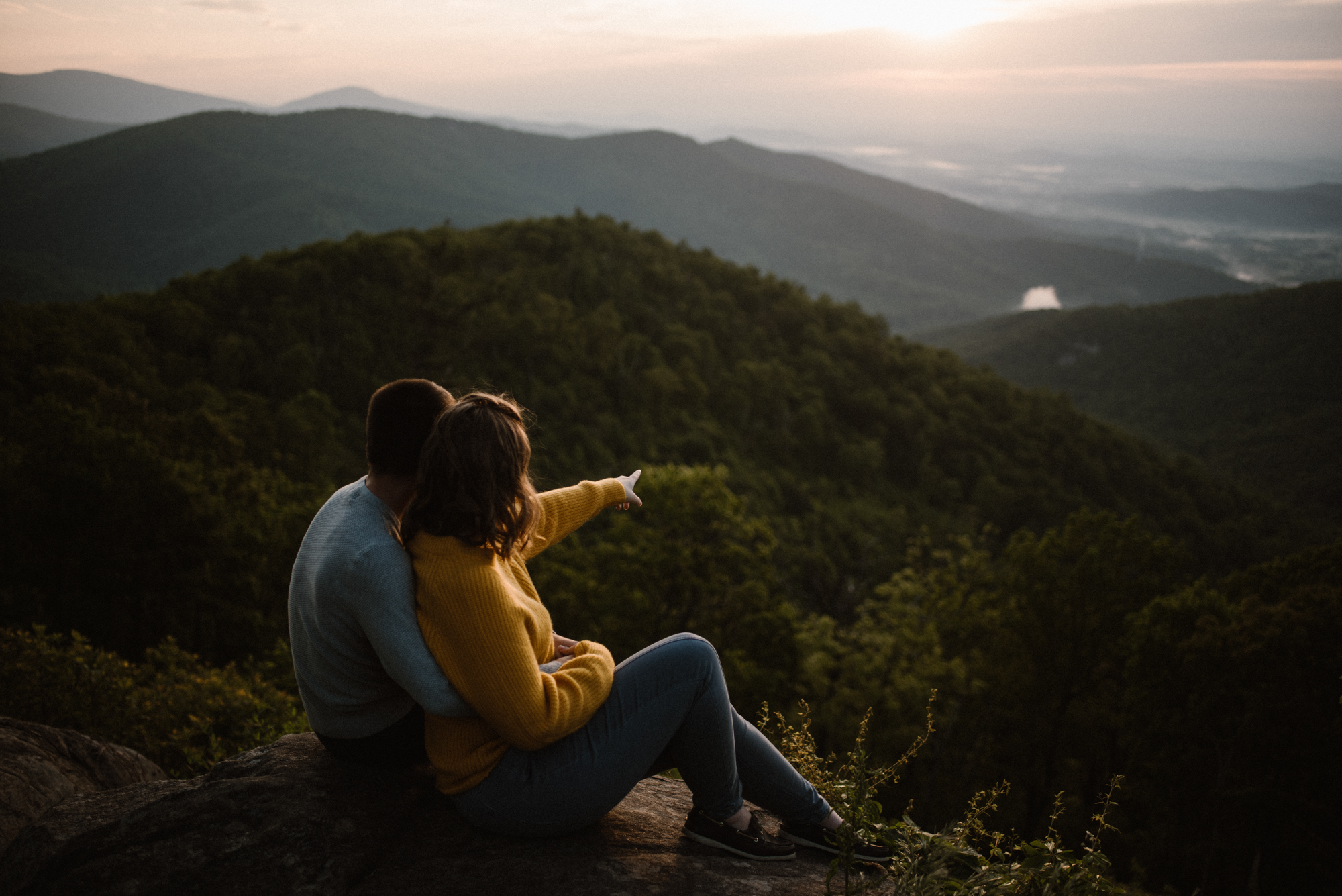 Sloane and Evan Sunrise Engagement Session in Shenandoah National Park - Things to Do in Luray Virginia - Adventurous Couple Photo Shoot White Sails Creative_12.jpg