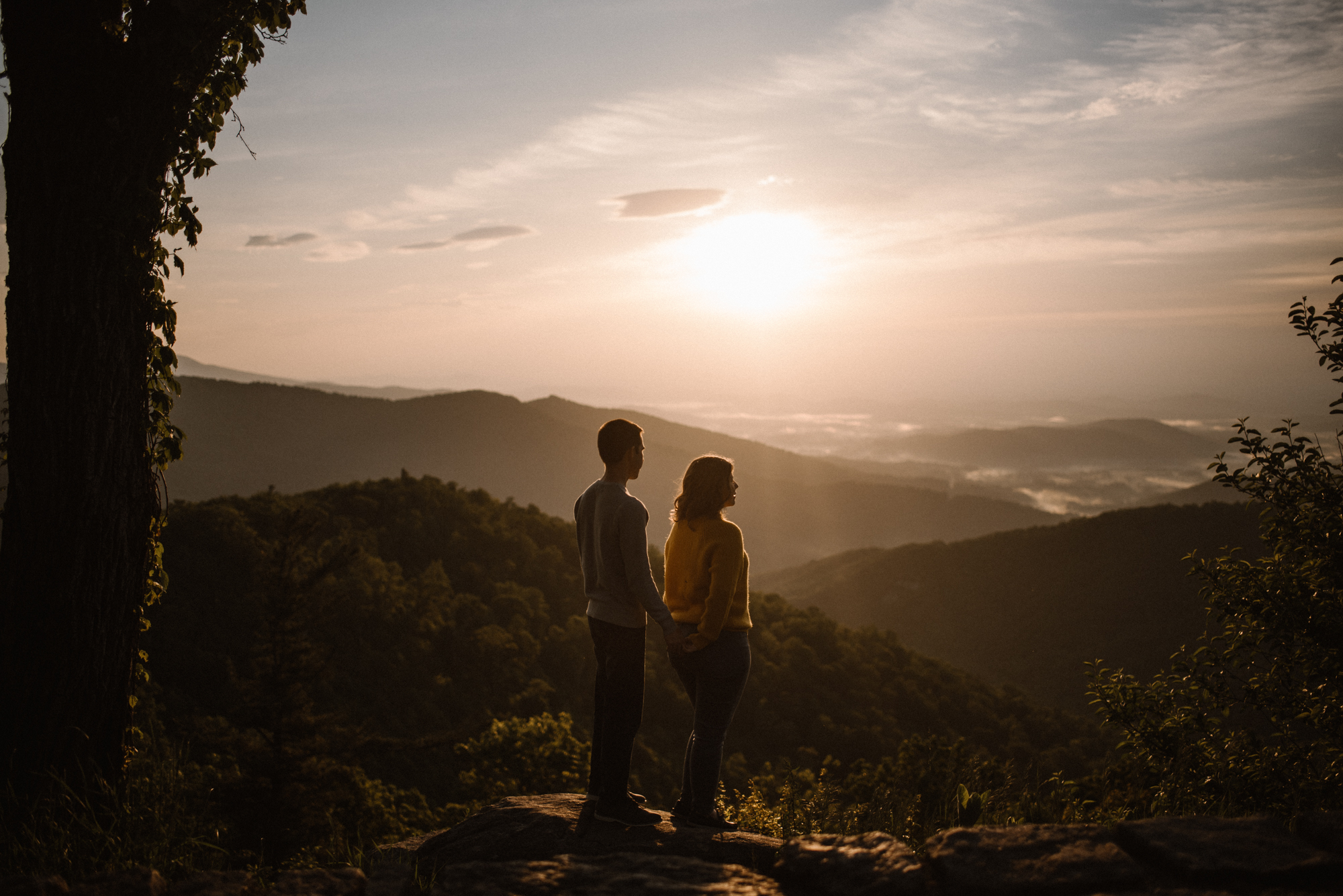 Sloane and Evan Sunrise Engagement Session in Shenandoah National Park - Things to Do in Luray Virginia - Adventurous Couple Photo Shoot White Sails Creative_16.jpg