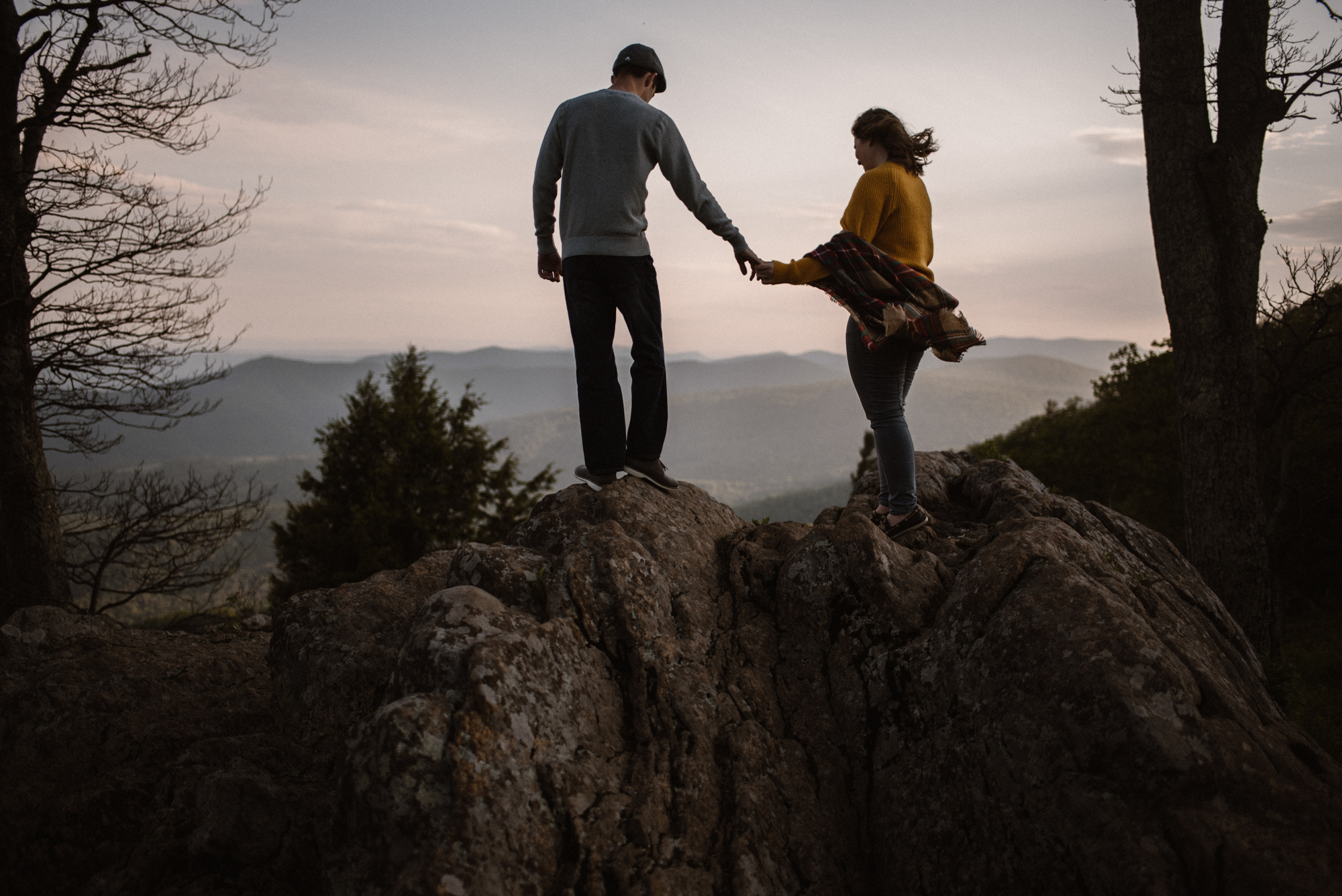 Sloane and Evan Sunrise Engagement Session in Shenandoah National Park - Things to Do in Luray Virginia - Adventurous Couple Photo Shoot White Sails Creative_26.jpg