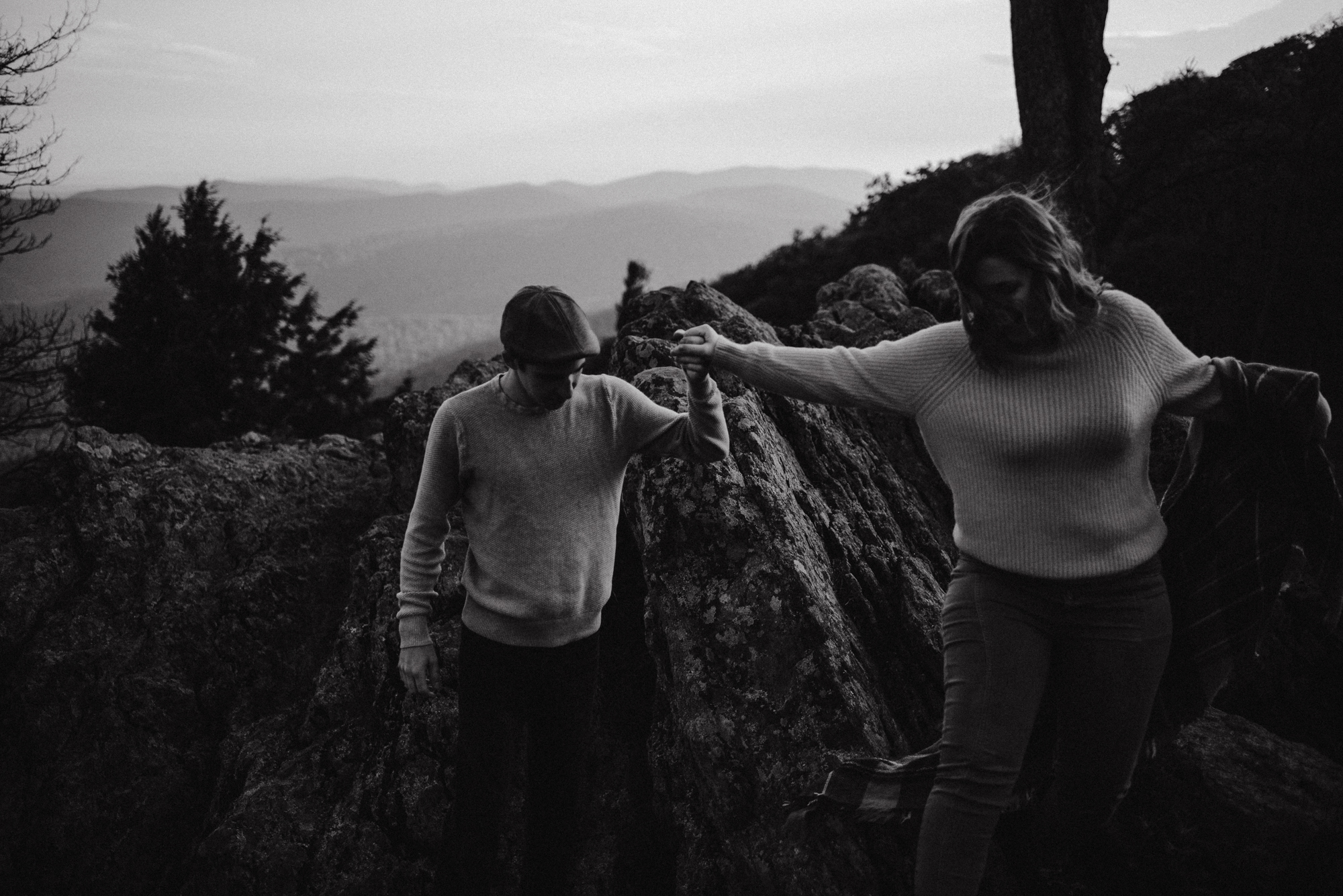 Sloane and Evan Sunrise Engagement Session in Shenandoah National Park - Things to Do in Luray Virginia - Adventurous Couple Photo Shoot White Sails Creative_27.jpg