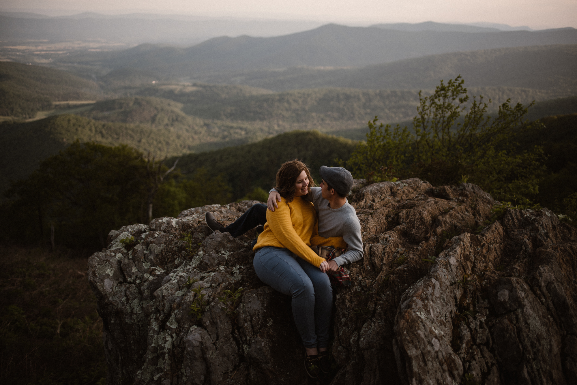 Sloane and Evan Sunrise Engagement Session in Shenandoah National Park - Things to Do in Luray Virginia - Adventurous Couple Photo Shoot White Sails Creative_28.jpg