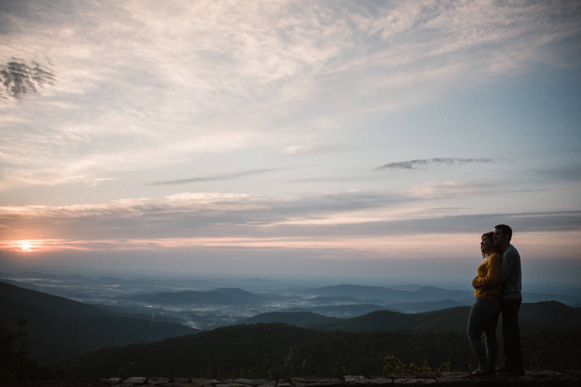 Sloane and Evan Sunrise Engagement Session in Shenandoah National Park - Things to Do in Luray Virginia - Adventurous Couple Photo Shoot White Sails Creative.jpg