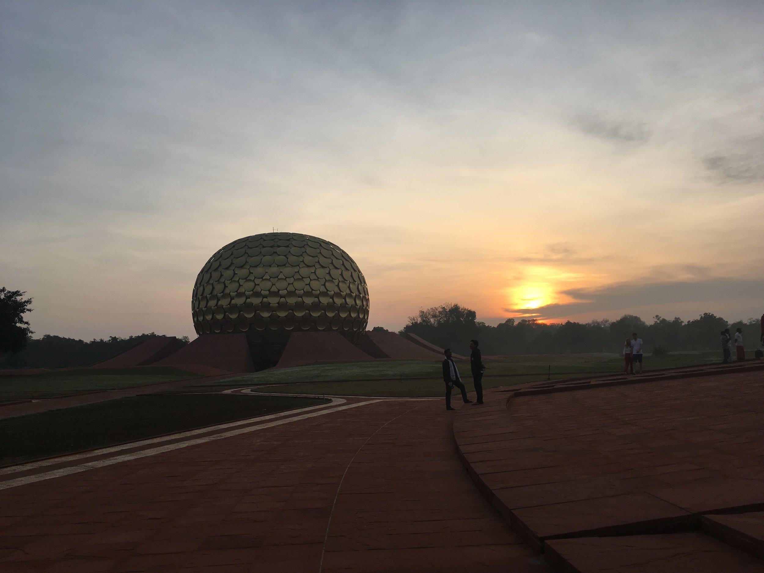 Center of Auroville- Maitri Mandir at sunrise