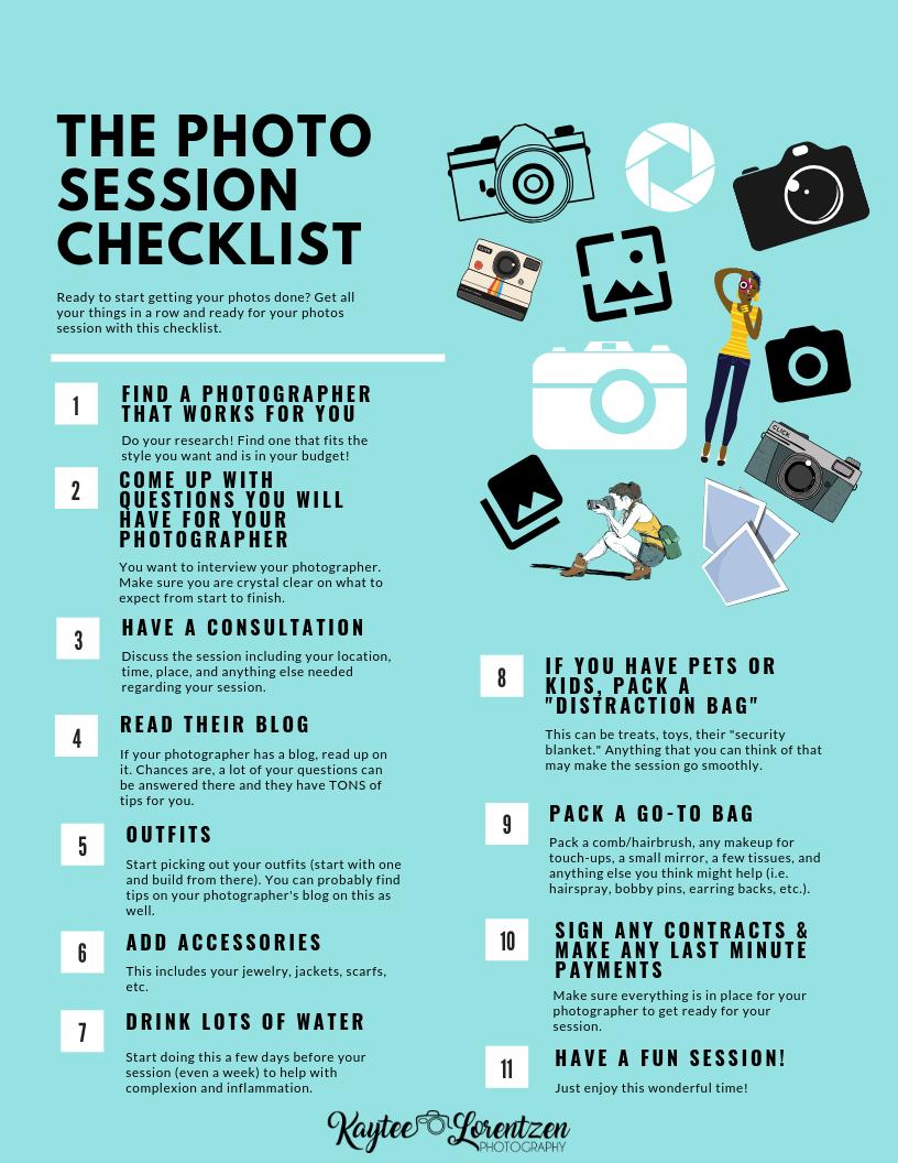 Photo Session Checklist -